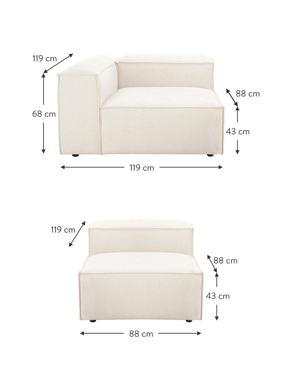 Modulares Sofa Lennon (4-Sitzer) in Beige, Bezug: Polyester Der hochwertige, Gestell: Massives Kiefernholz, Spe, Webstoff Beige, B 327 x T 119 cm