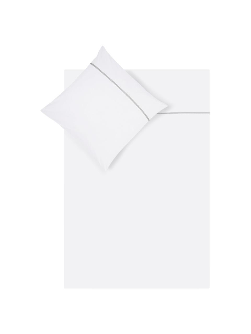 Baumwollperkal-Bettwäsche Mari mit Hohlsaumstickerei, Webart: Perkal Fadendichte 180 TC, Weiß, Grau, 135 x 200 cm + 1 Kissen 80 x 80 cm