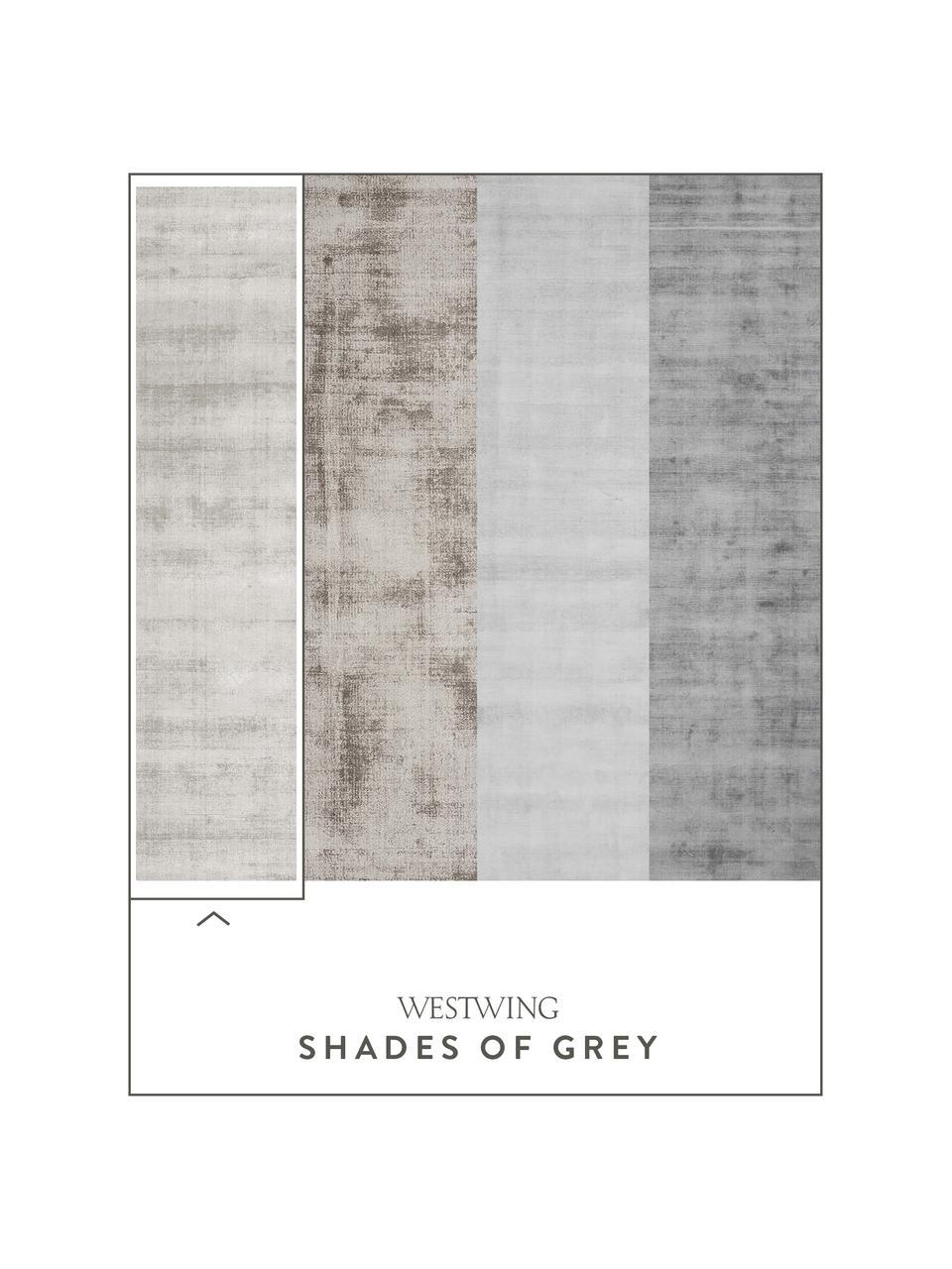 Alfombra artesanal de viscosa Jane, Parte superior: 100%viscosa, Reverso: 100%algodón, Gris claro, beige, An 120 x L 180 cm (Tamaño S)