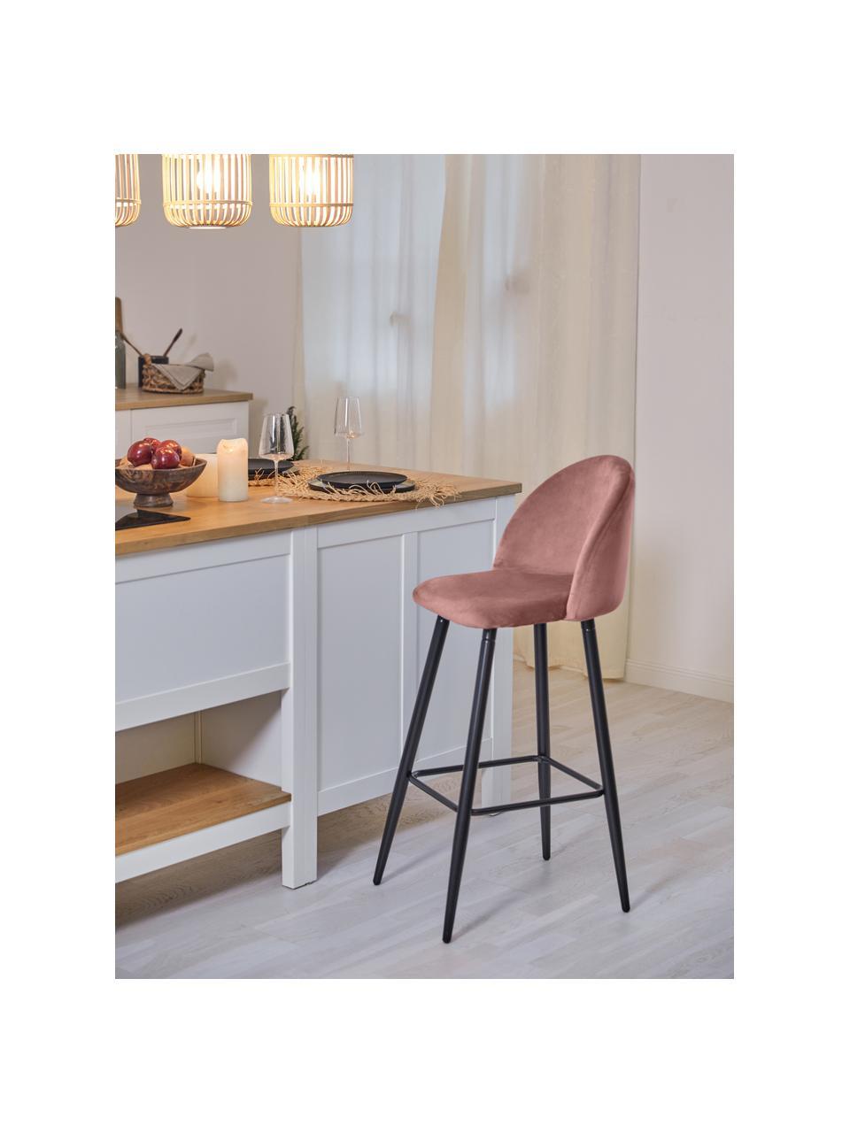 Samt-Barstuhl Amy in Rosa, Bezug: Samt (Polyester) Der hoch, Beine: Metall, pulverbeschichtet, Samt Rosa, 45 x 103 cm