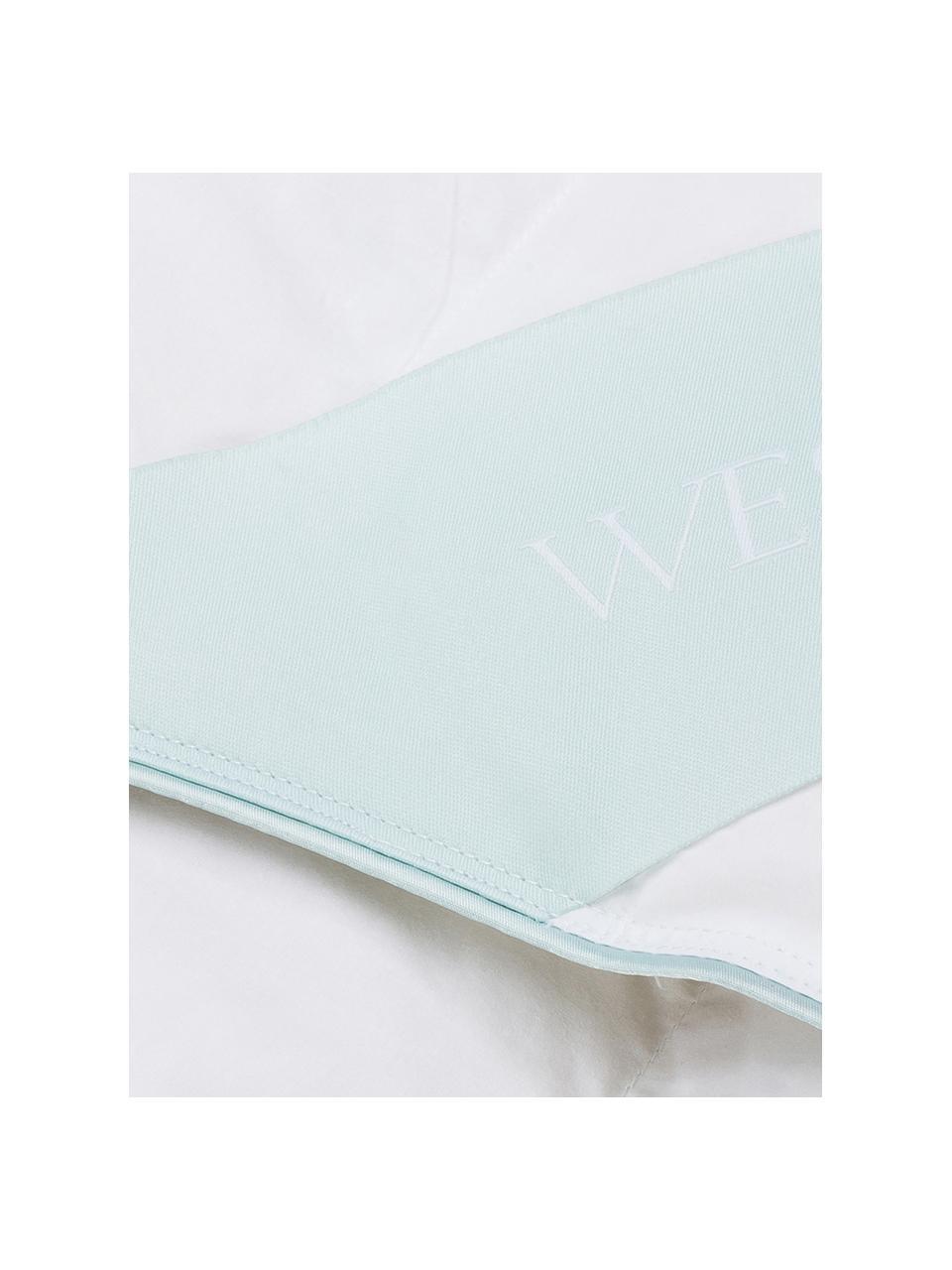 Piumino in piuma d'oca Comfort, extra leggero, Rivestimento: 100% cotone, pregiata cop, Bianco con fascia di stoffa in raso turchese, Larg. 155 x Lung. 200 cm