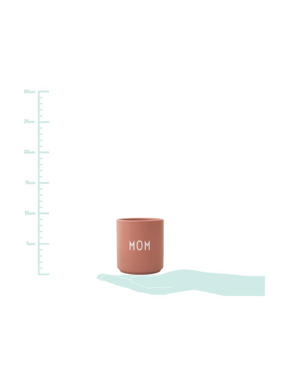 Design Becher Favourite MOM/LOVE mit unterschiedlichen Schriftzug auf Vorder- & Rückseite, Fine Bone China (Porzellan) Fine Bone China ist ein Weichporzellan, das sich besonders durch seinen strahlenden, durchscheinenden Glanz auszeichnet., Rosa, Weiß, Ø 8 x H 9 cm