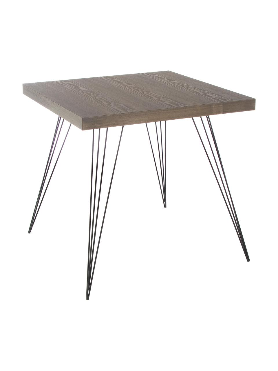 Tavolo quadrato Wolcott, Piedini: ferro verniciato, Marrone scuro, nero, Larg. 80 x Prof. 80 cm