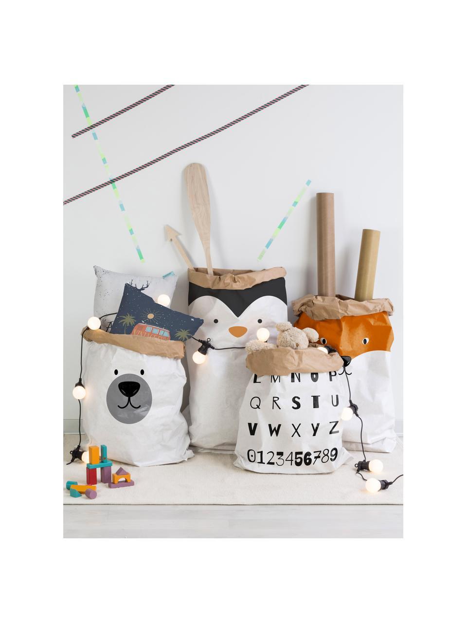Aufbewahrungstüte Fox, Recyceltes Papier, Weiß, Orange, Schwarz, 60 x 90 cm