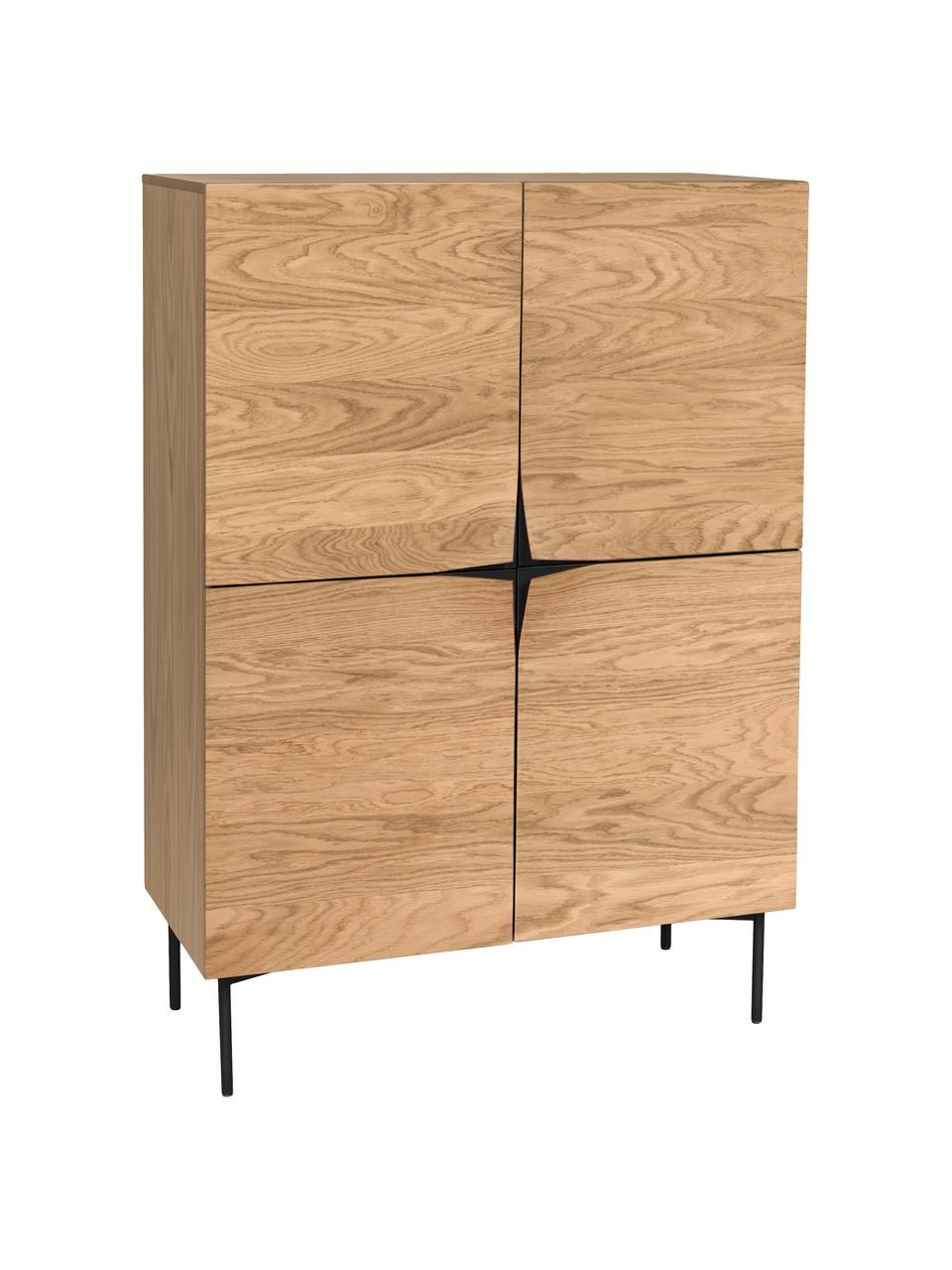 Komoda z drzwiczkami z drewna dębowego Filip, Korpus: sklejka z fornirem z drew, Nogi: metal malowany proszkowo, Drewno dębowe, czarny, S 100 x W 140 cm