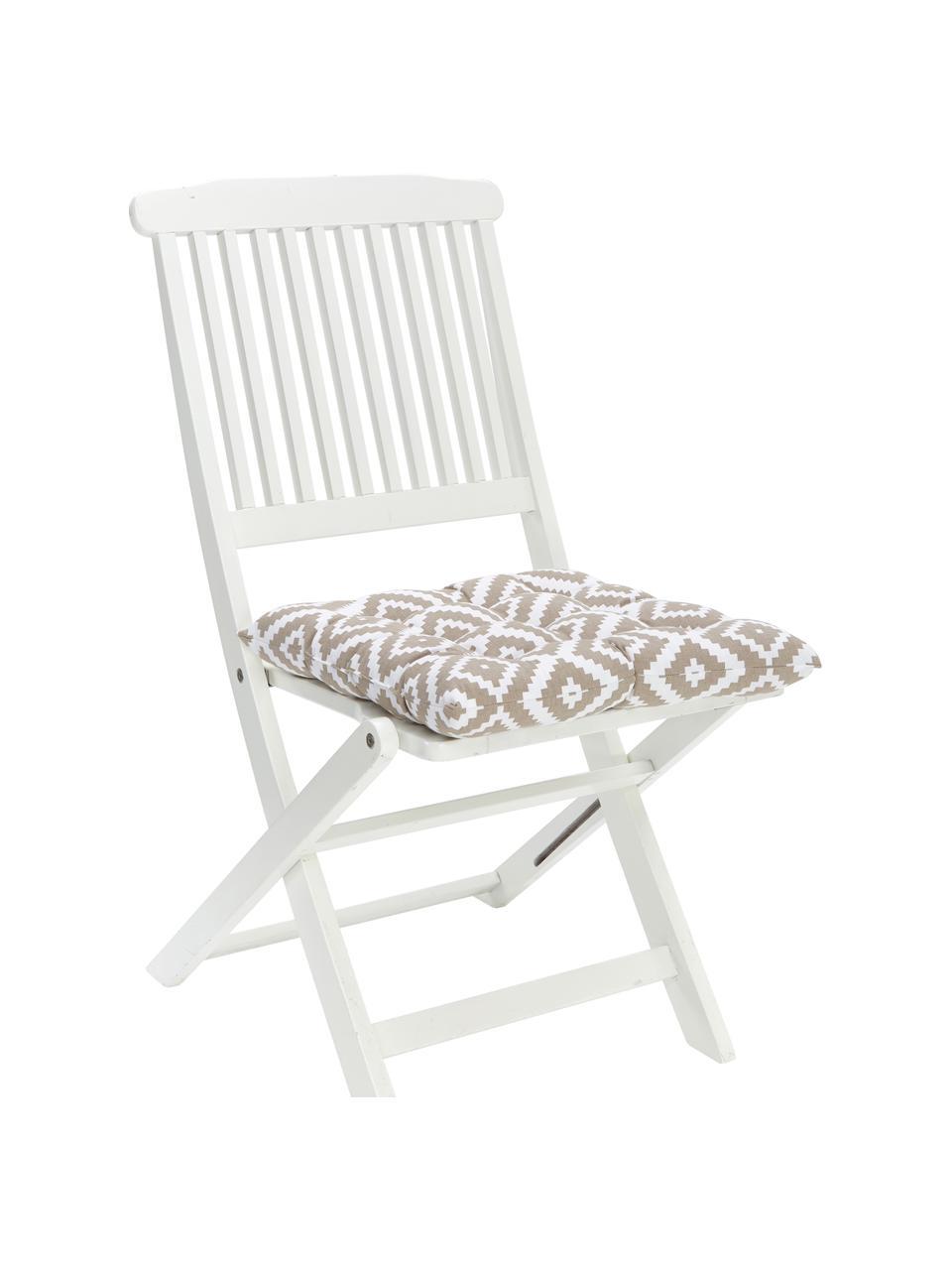 Sitzkissen Miami in Taupe/Weiss, Bezug: 100% Baumwolle, Beige, 40 x 40 cm
