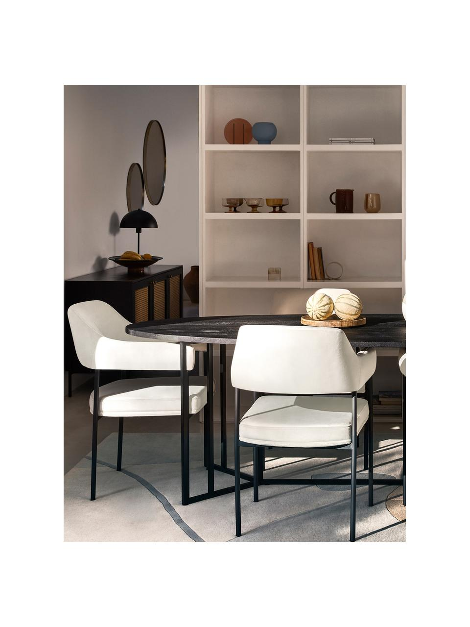 Sedia con braccioli in velluto Zoe, Rivestimento: velluto (poliestere) Con , Struttura: metallo verniciato a polv, Velluto bianco crema, Larg. 56 x Prof. 62 cm