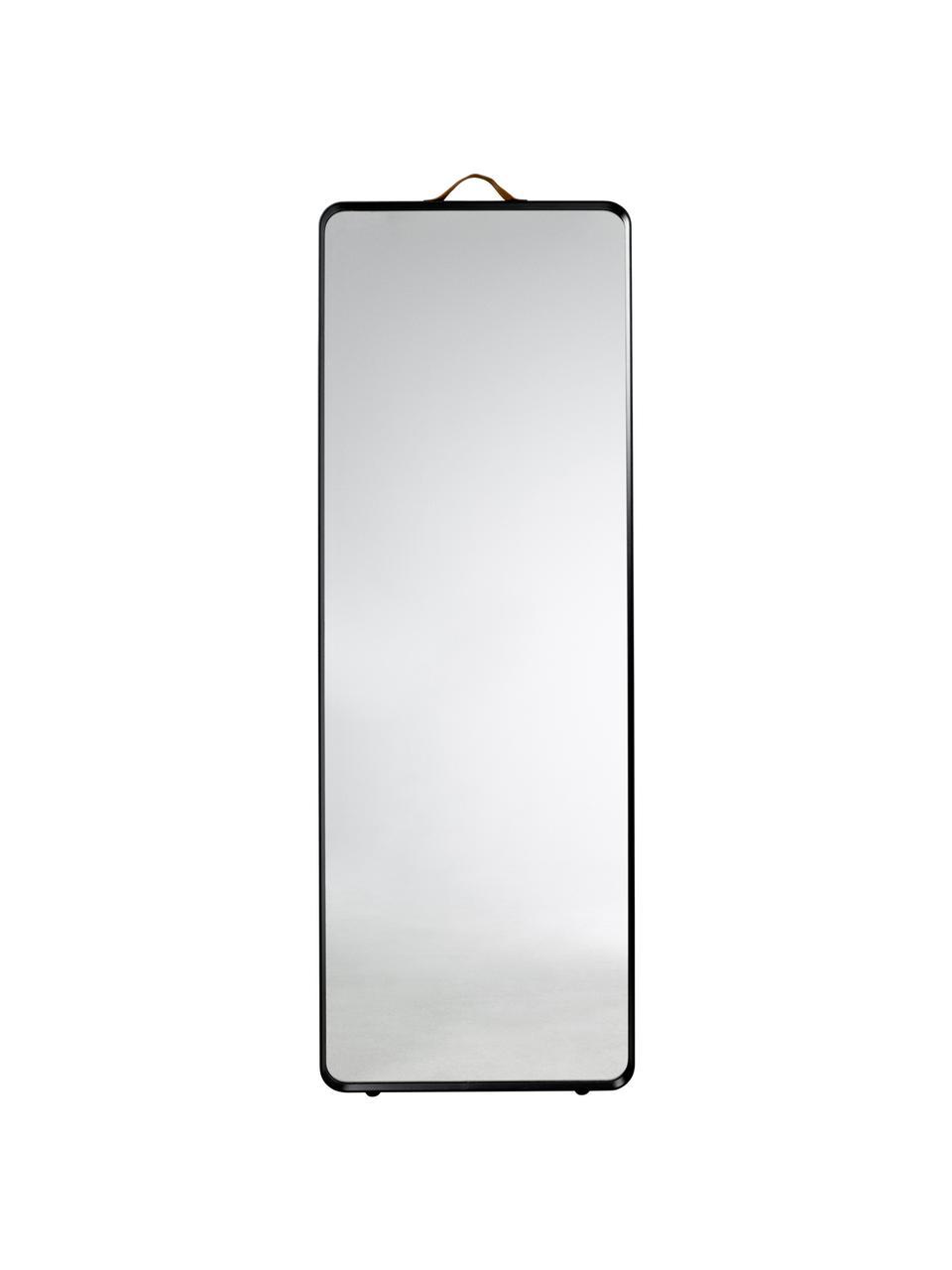 Eckiger Wandspiegel Norm mit schwarzem Aluminiumrahmen, Rahmen: Aluminium, pulverbeschich, Griff: Leder, Spiegelfläche: Spiegelglas, Schwarz, 60 x 170 cm