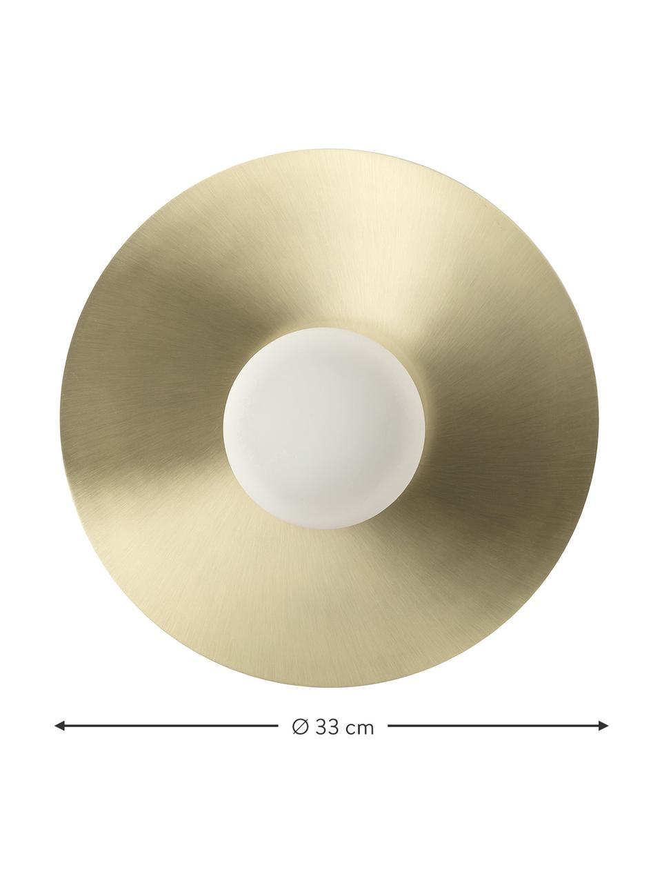 Lampada da parete e soffitto a LED Starling, Paralume: vetro opale, Baldacchino: ottonato opaco Paralume: bianco, Ø 33 cm