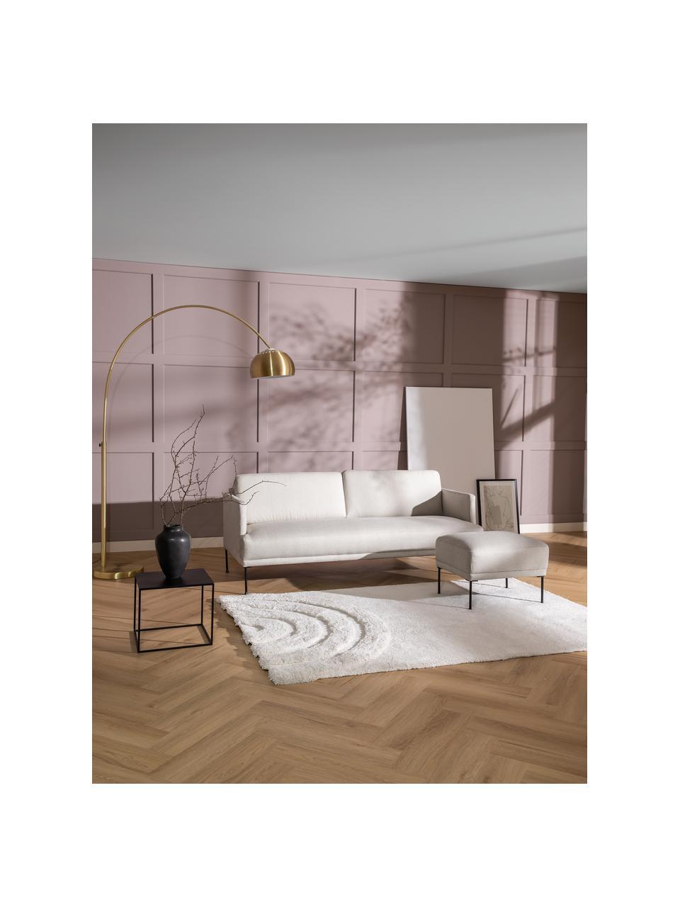 Bank Fluente (3-zits) in beige met metalen poten, Bekleding: 80% polyester, 20% ramie , Frame: massief grenenhout, Poten: gepoedercoat metaal, Geweven stof beige, B 196 x D 85 cm