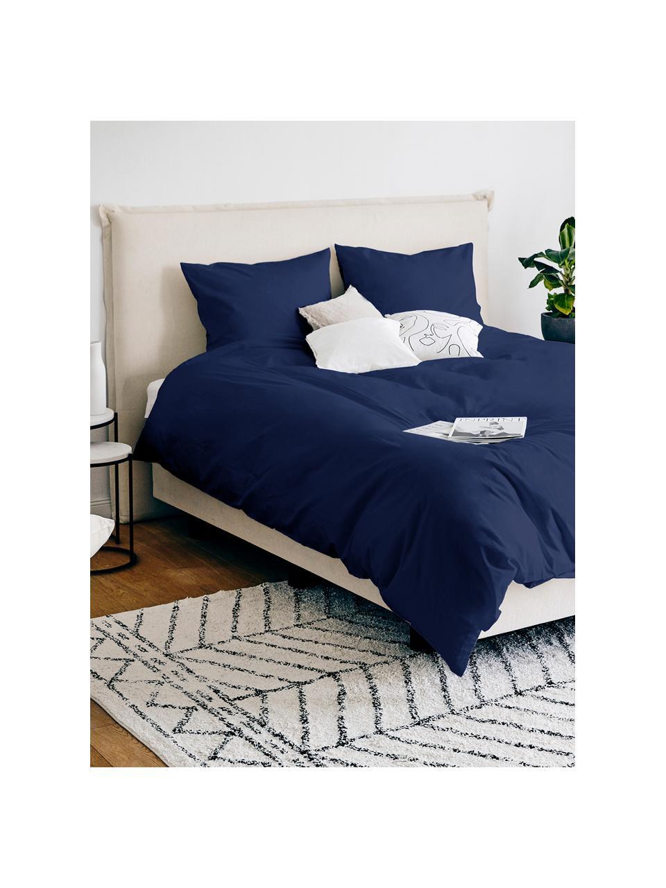 Katoensatijnen dekbedovertrek Comfort, Weeftechniek: satijn, licht glanzend, Donkerblauw, 240 x 220 cm