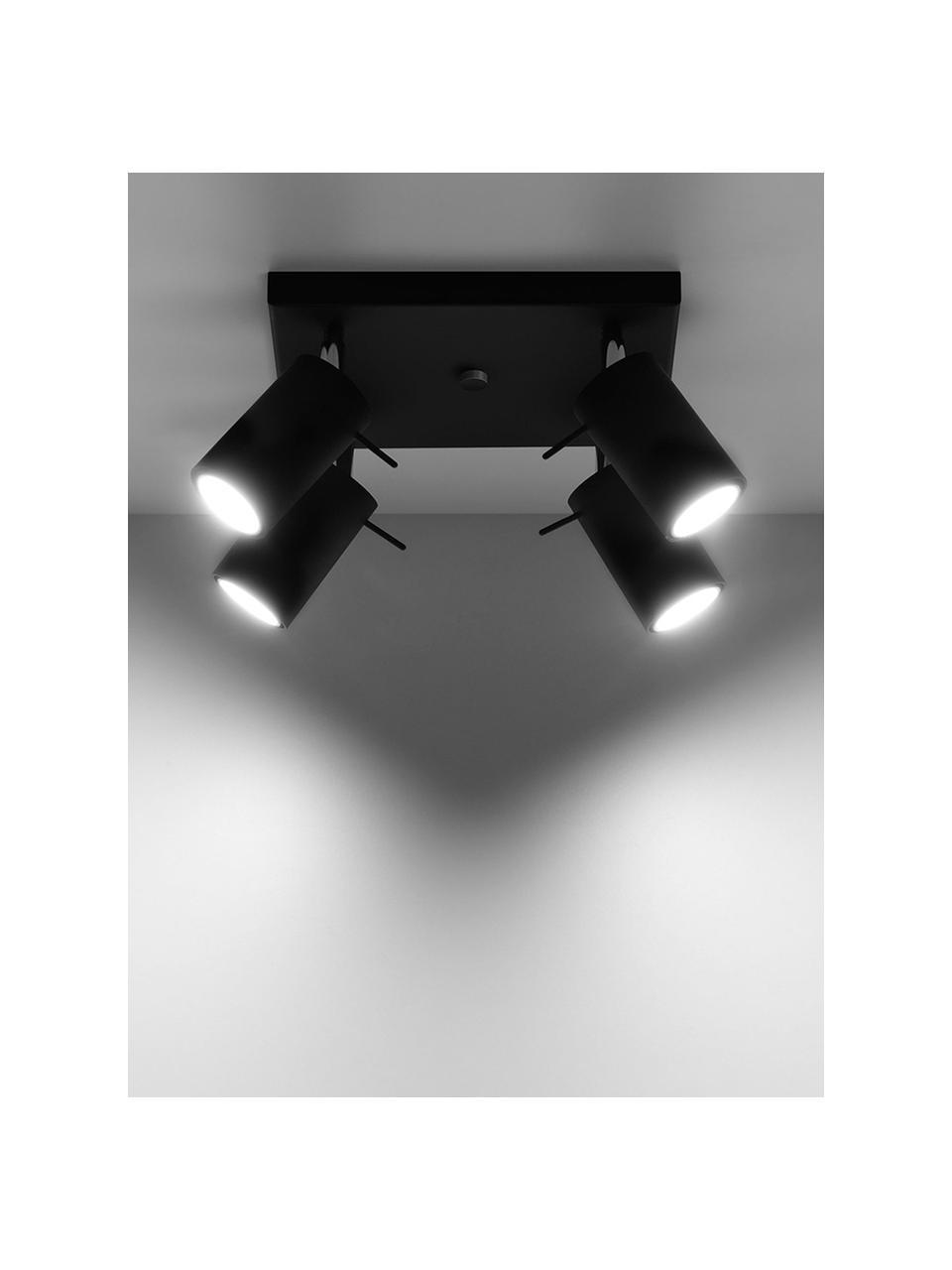 Faretti da soffitto neri Etna, Paralume: acciaio verniciato, Baldacchino: acciaio verniciato, Nero, Larg. 25 x Alt. 15 cm