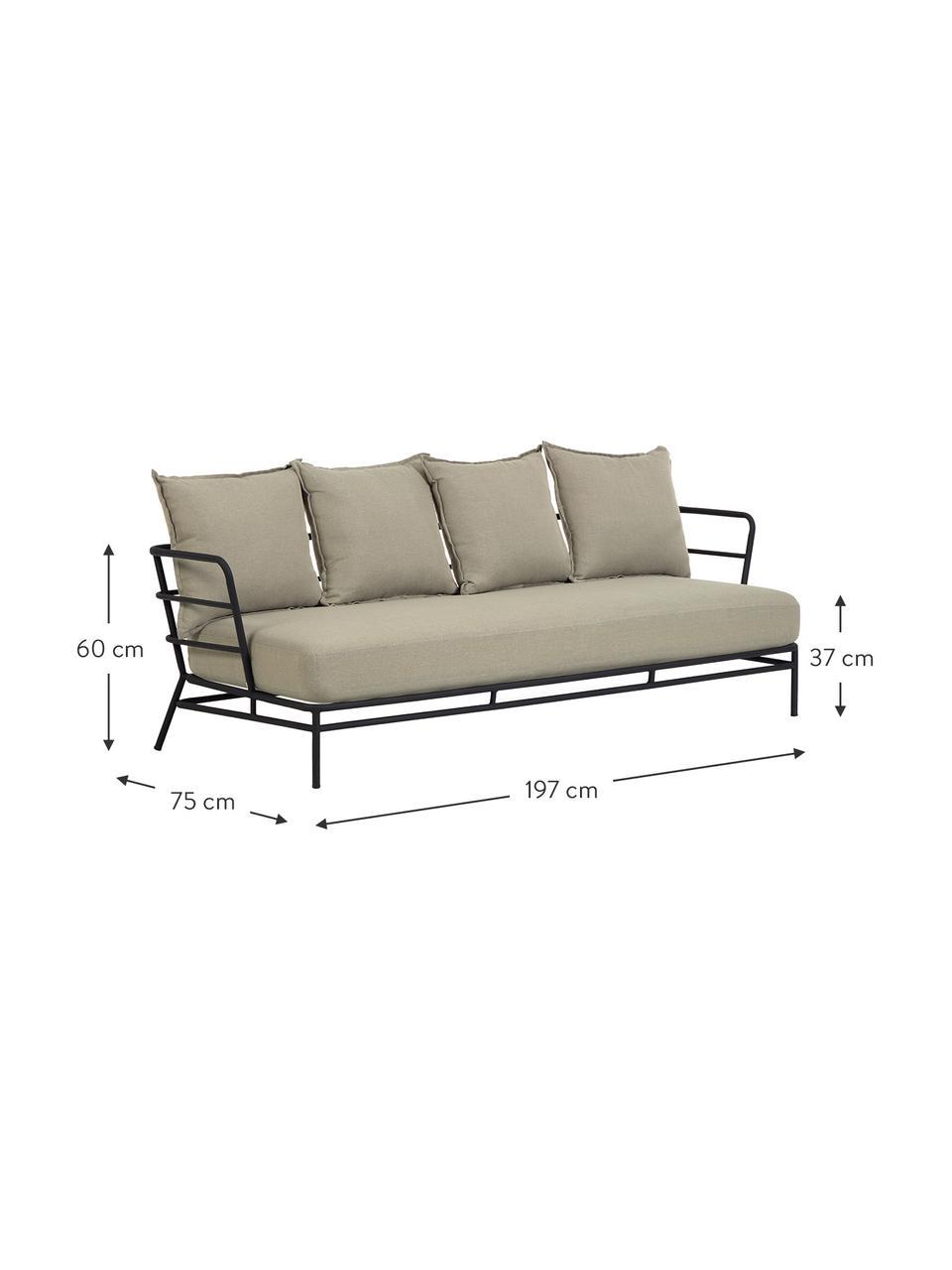 Sofa ogrodowa Mareluz (3-osobowa), Stelaż: metal ocynkowany i lakier, Beżowy, S 197 x G 75 cm