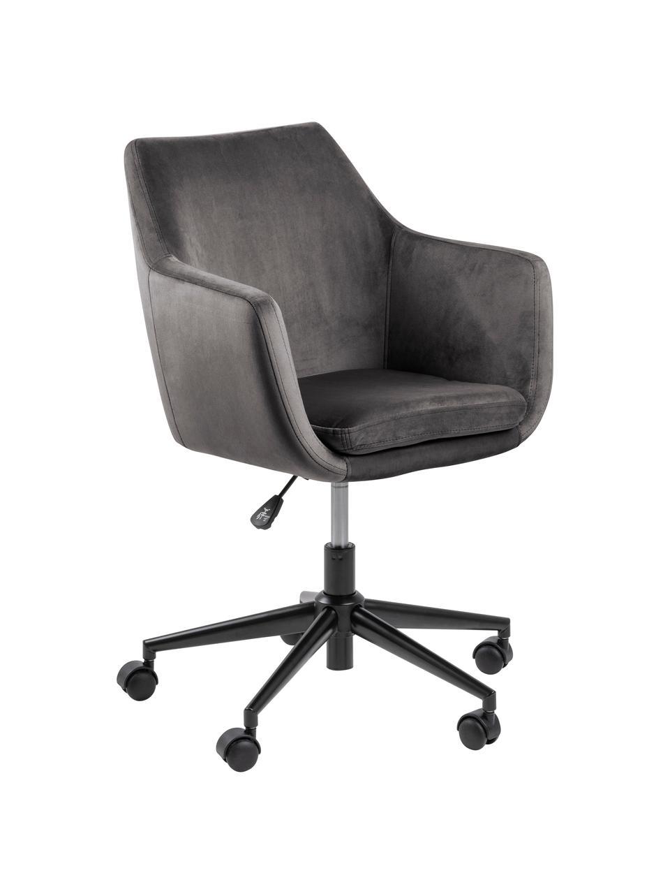 Fluwelen bureaustoel Nora, in hoogte verstelbaar, Bekleding: polyester (fluweel), Frame: gepoedercoat metaal, Fluweel donkergrijs, B 58 x D 58 cm