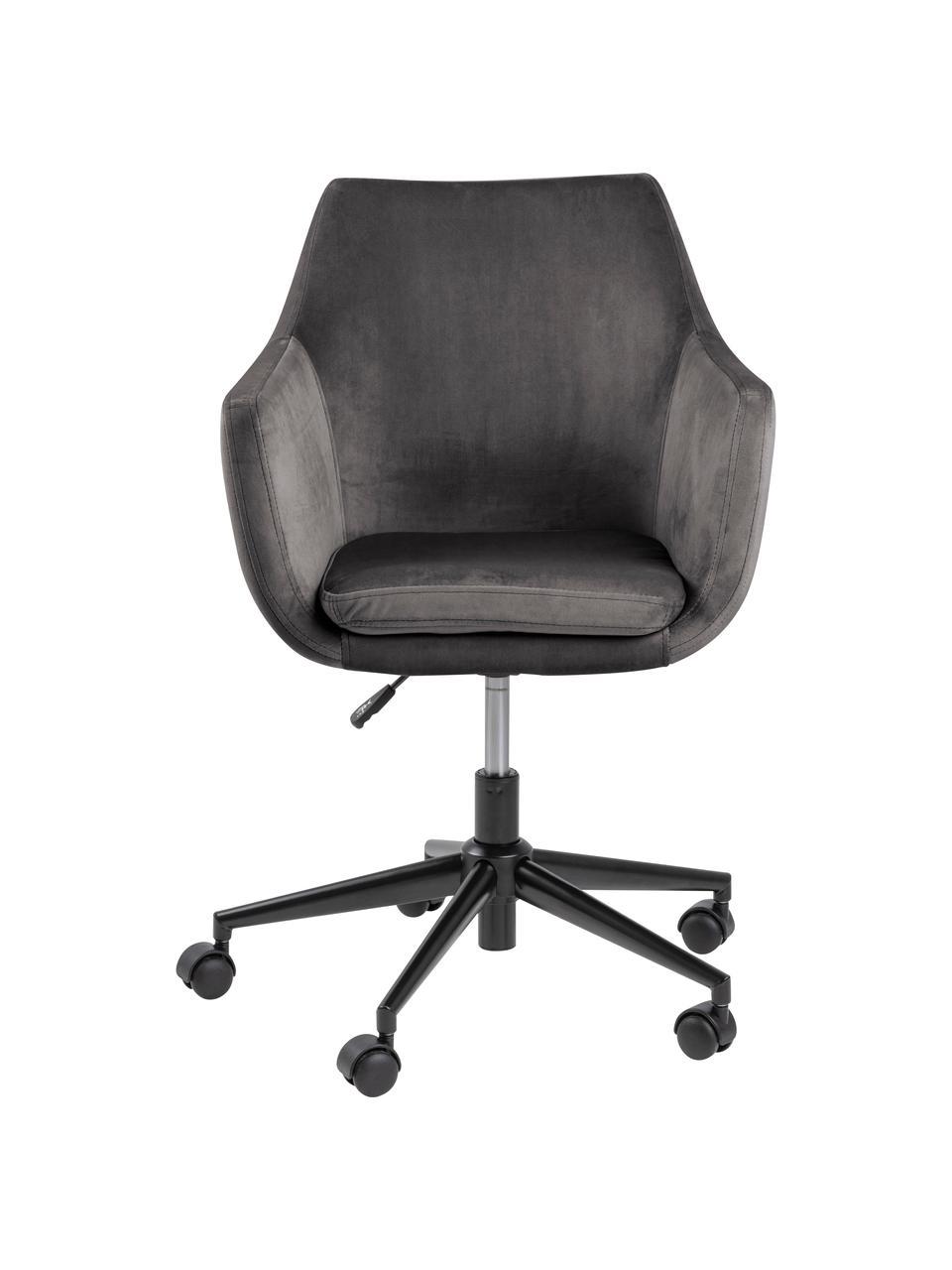 Samt-Bürodrehstuhl Nora, höhenverstellbar, Bezug: Polyester (Samt) 25.000 S, Gestell: Metall, pulverbeschichtet, Samt Dunkelgrau, B 58 x T 58 cm