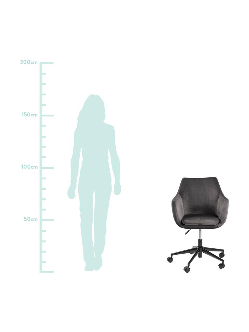 Sedia da ufficio girevole in velluto Nora, Rivestimento: poliestere (velluto) 25.0, Struttura: metallo verniciato a polv, Grigio scuro, nero, Larg. 58 x Prof. 58 cm