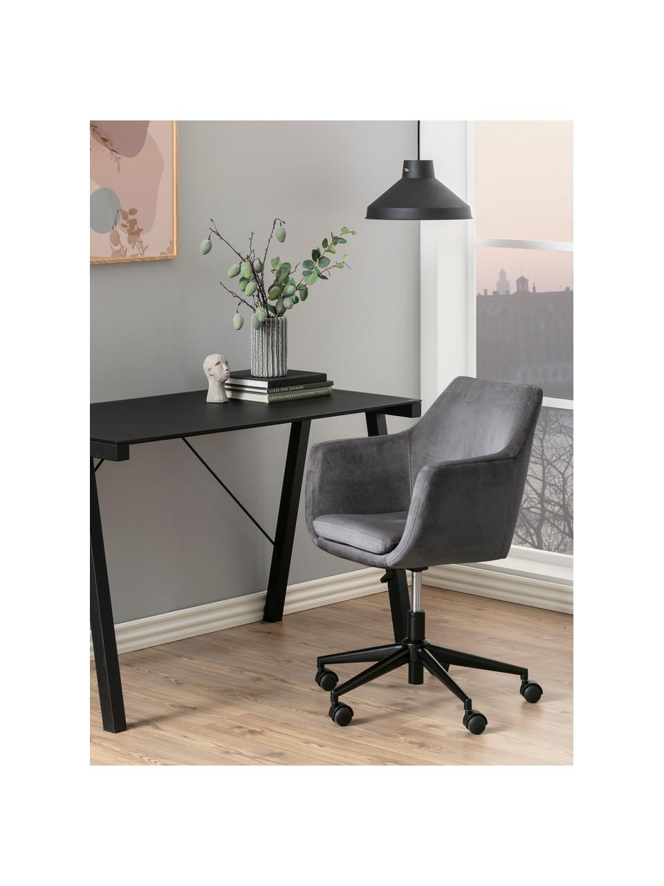 Fauteuil de bureau en velours à hauteur ajustable Nora, Gris foncé, noir