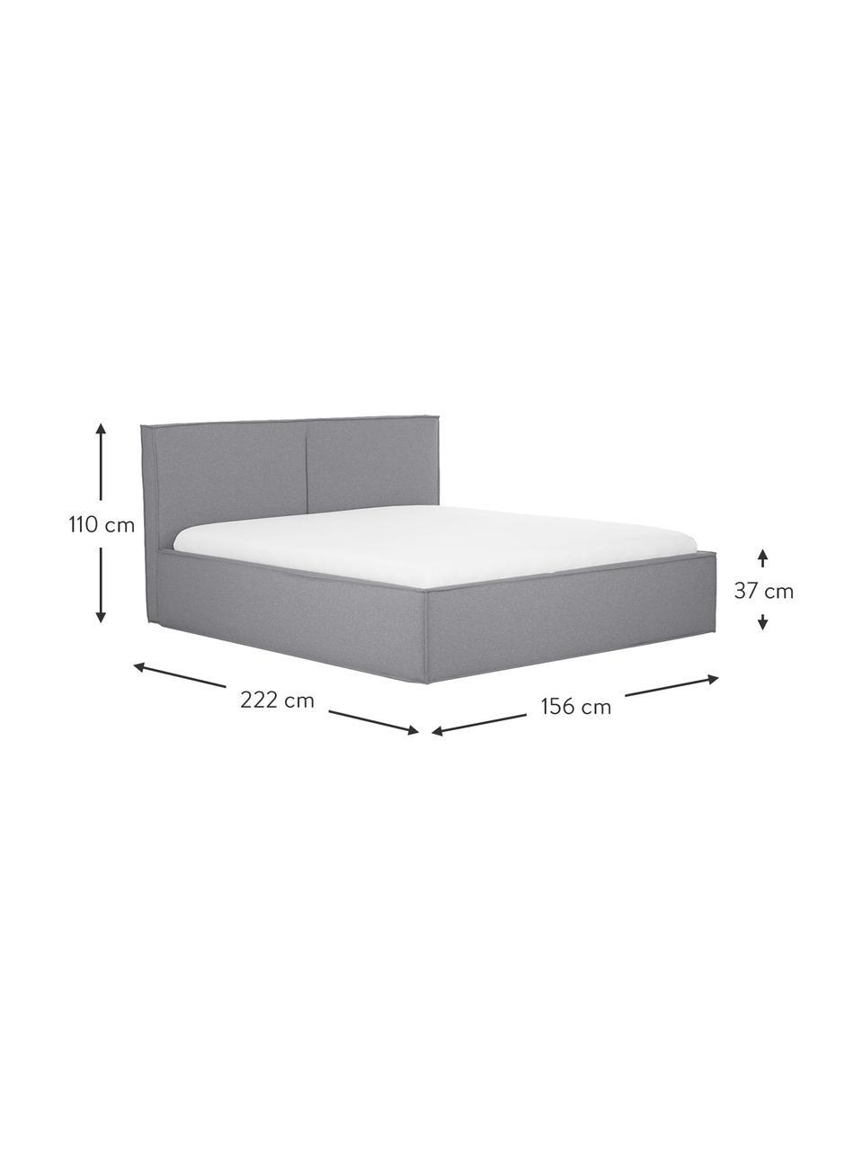 Łóżko tapicerowane ze schowkiem Dream, Korpus: lite drewno sosnowe i pły, Tapicerka: 100 % poliester (tkanina , Szary, S 180 x D 200 cm