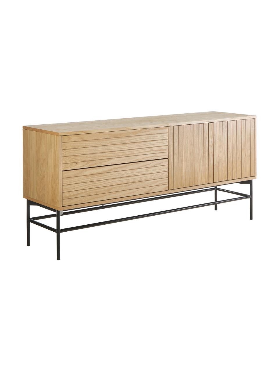 Modernes Sideboard Johan mit Türen und Eichenholzfurnier, Korpus: Mitteldichte Holzfaserpla, Gestell: Metall, pulverbeschichtet, Korpus: EichenholzfurnierFüße: Schwarz, matt, 160 x 75 cm
