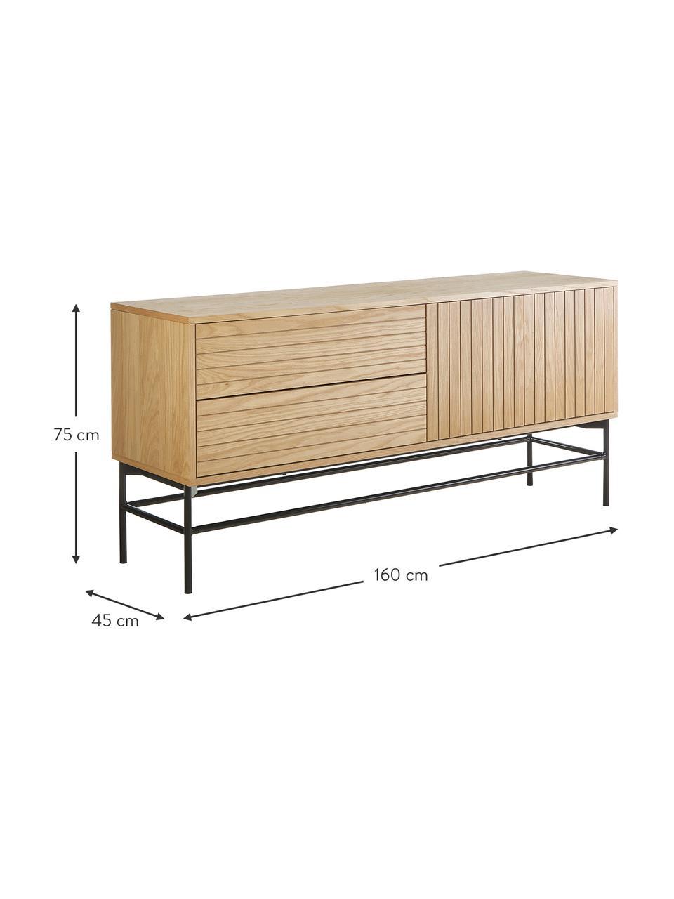 Modernes Sideboard Johan mit Türen und Eichenholzfurnier, Korpus: Mitteldichte Holzfaserpla, Gestell: Metall, pulverbeschichtet, Hellbraun, 160 x 75 cm