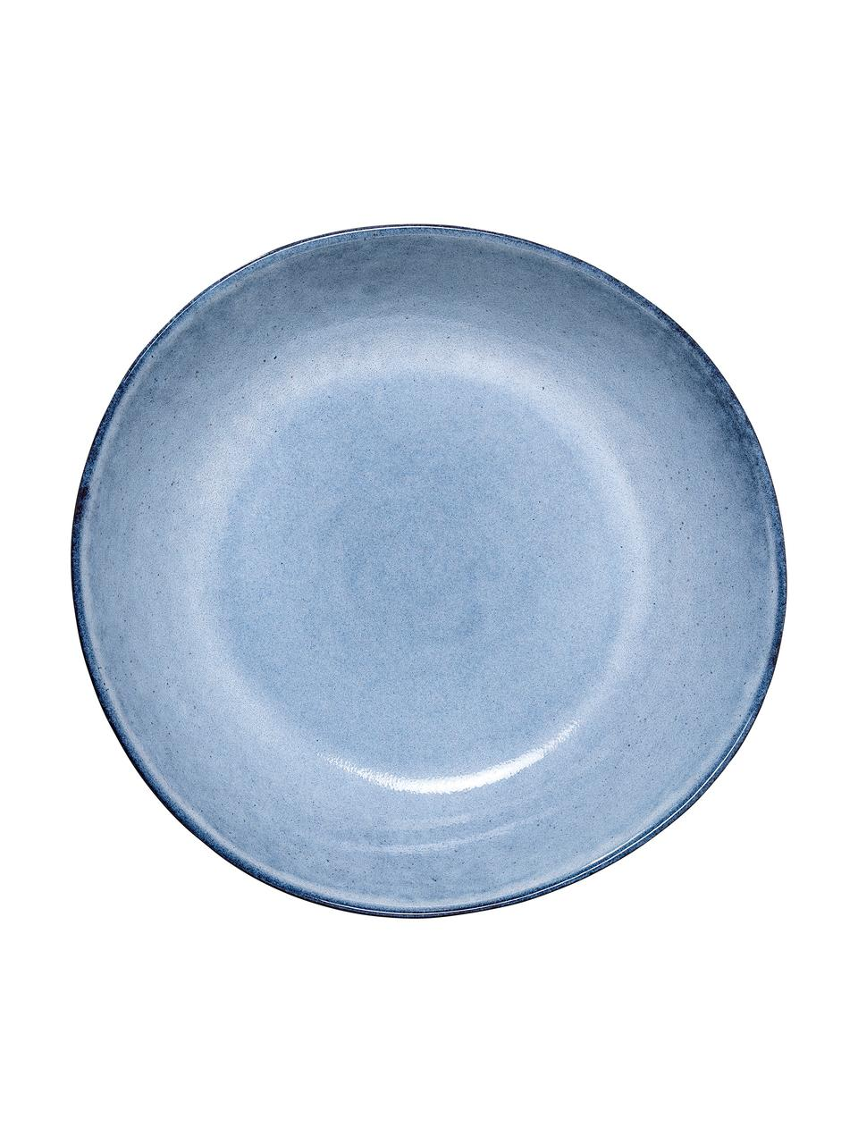 Ręcznie wykonany talerz głęboki Sandrine, Kamionka, Odcienie niebieskiego, Ø 22 x W 5 cm