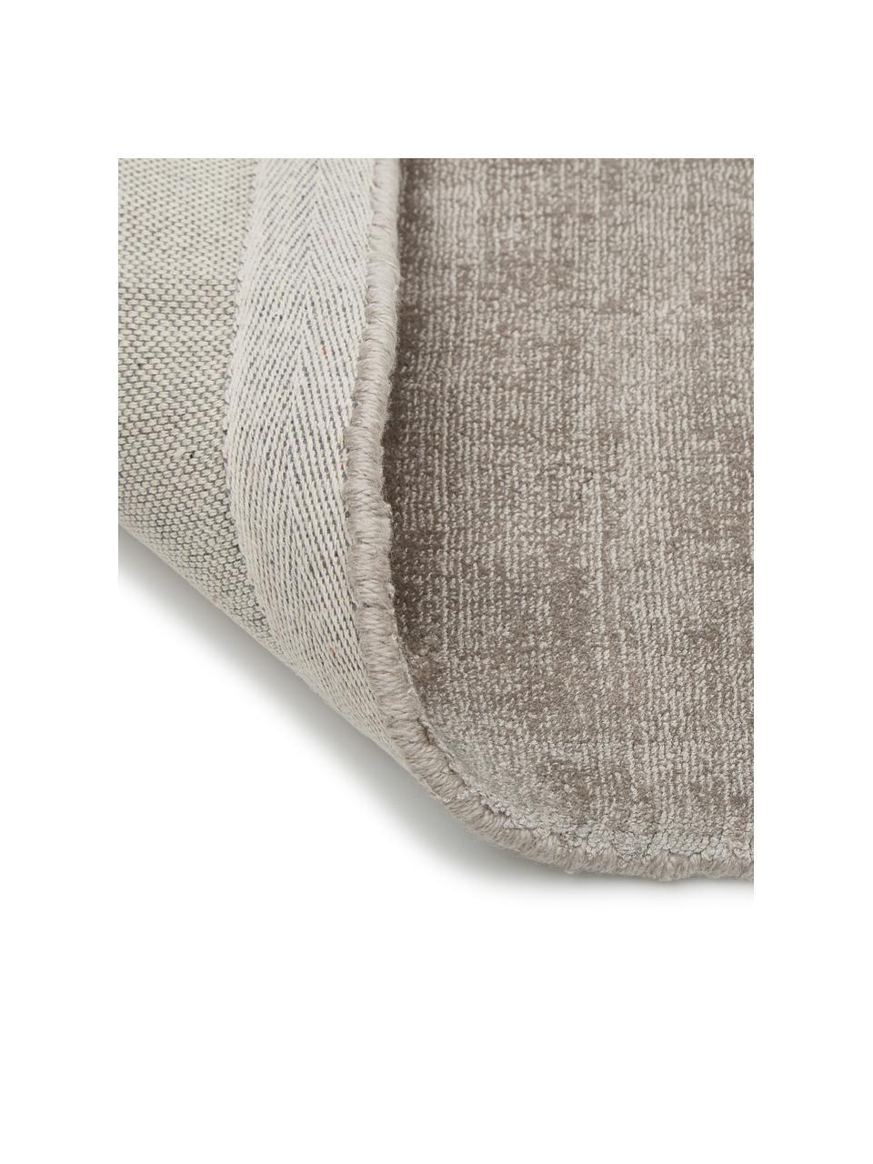 Passatoia in viscosa tessuta a mano Jane, Retro: 100% cotone, Taupe, Larg. 80 x Lung. 250 cm
