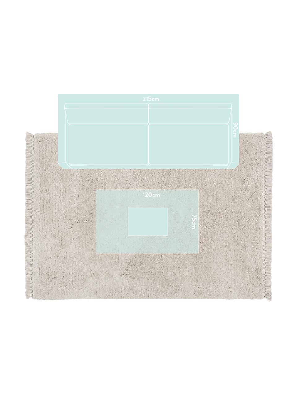Flauschiger Hochflor-Teppich Dreamy mit Fransen, Flor: 100% Polyester, Creme, B 160 x L 230 cm (Größe M)