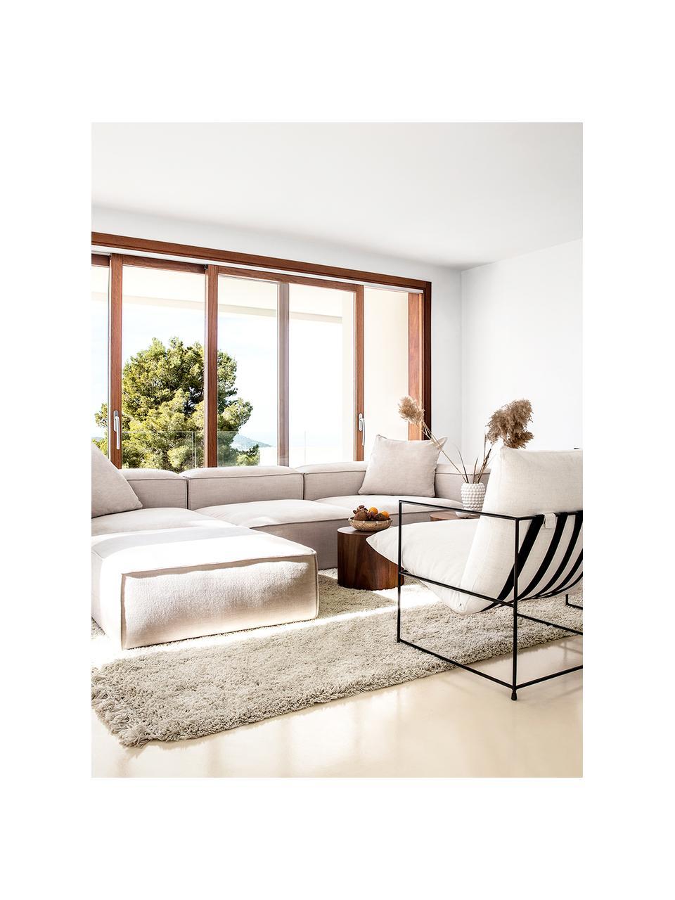 Zacht hoogpolig vloerkleed Dreamy met franjes, Bovenzijde: 100% polyester, Onderzijde: 100% katoen, Crèmekleurig, B 200 x L 300 cm (maat L)