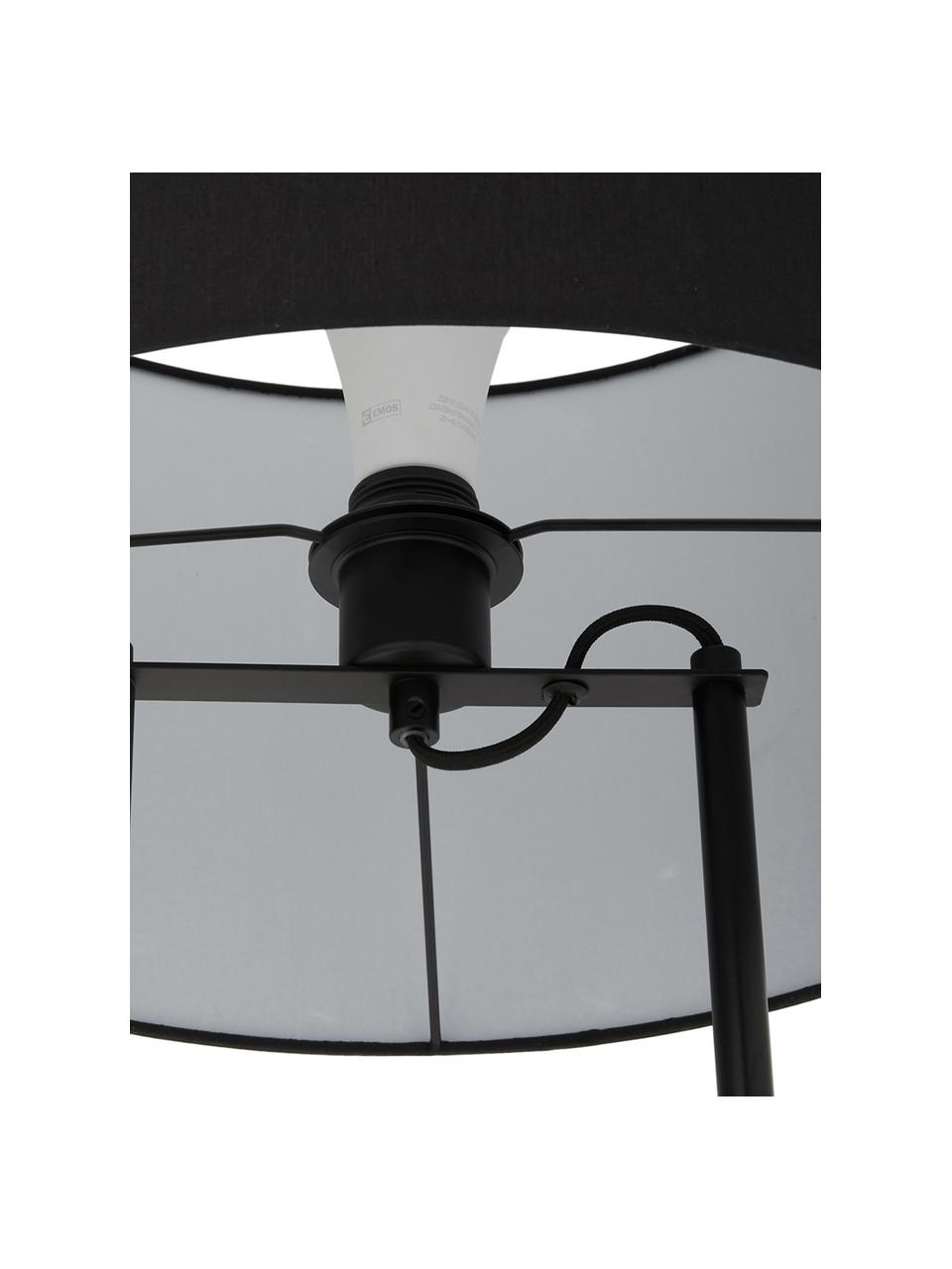 Lampadaire avec pied en béton Pipero, Abat-jour: noir Pied de lampe: noir, mat, gris Câble: noir