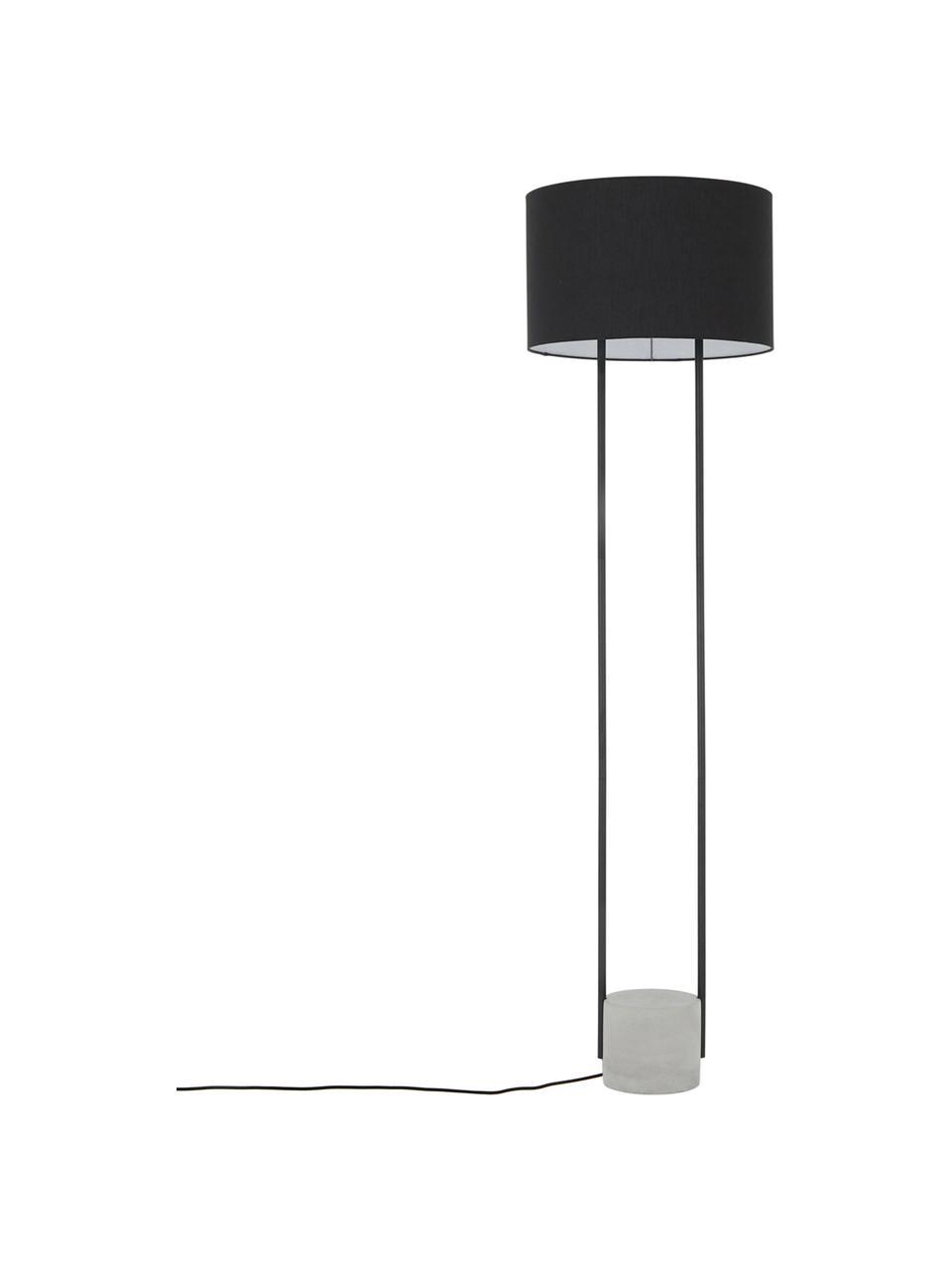 Stehlampe Pipero mit Betonfuß, Lampenschirm: Textil, Lampenfuß: Beton, Gestell: Metall, pulverbeschichtet, Lampenschirm:SchwarzLampenfuß:Schwarz, matt, GrauKabel: Schwarz, Ø 45 x H 161 cm