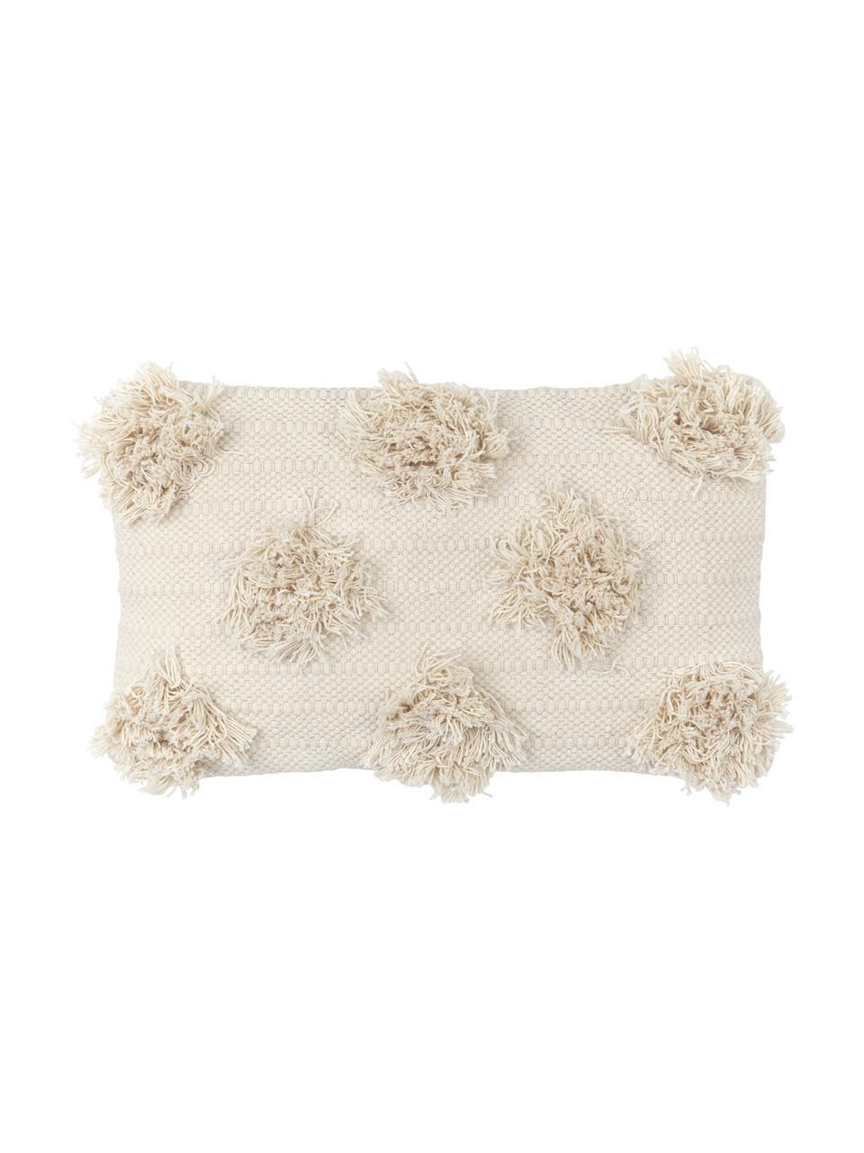 Boho Kissenhülle Vana mit getufteten Verzierungen, 100% Baumwolle, Ecru, 30 x 50 cm