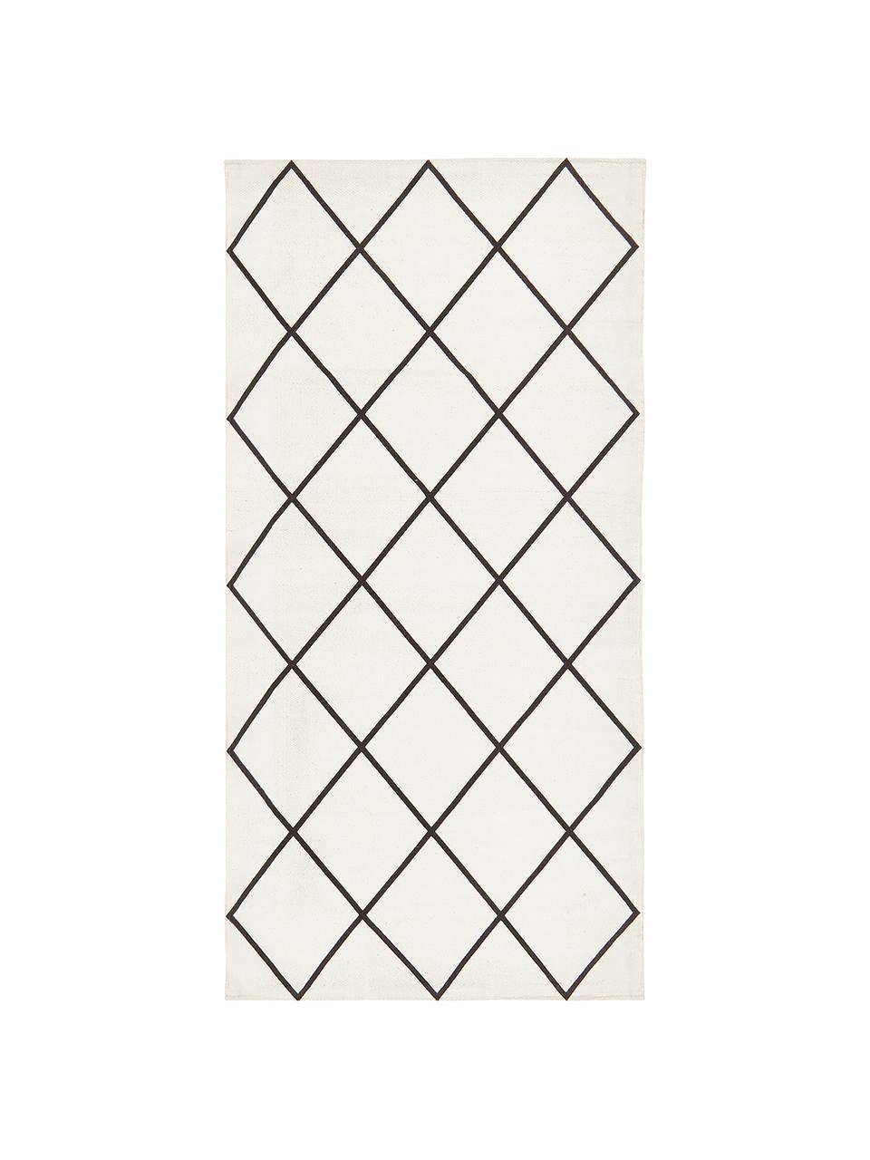Tappeto in cotone tessuto a mano Farah, 100% cotone, Bianco crema, nero, Larg. 200 x Lung. 300 cm (taglia L)