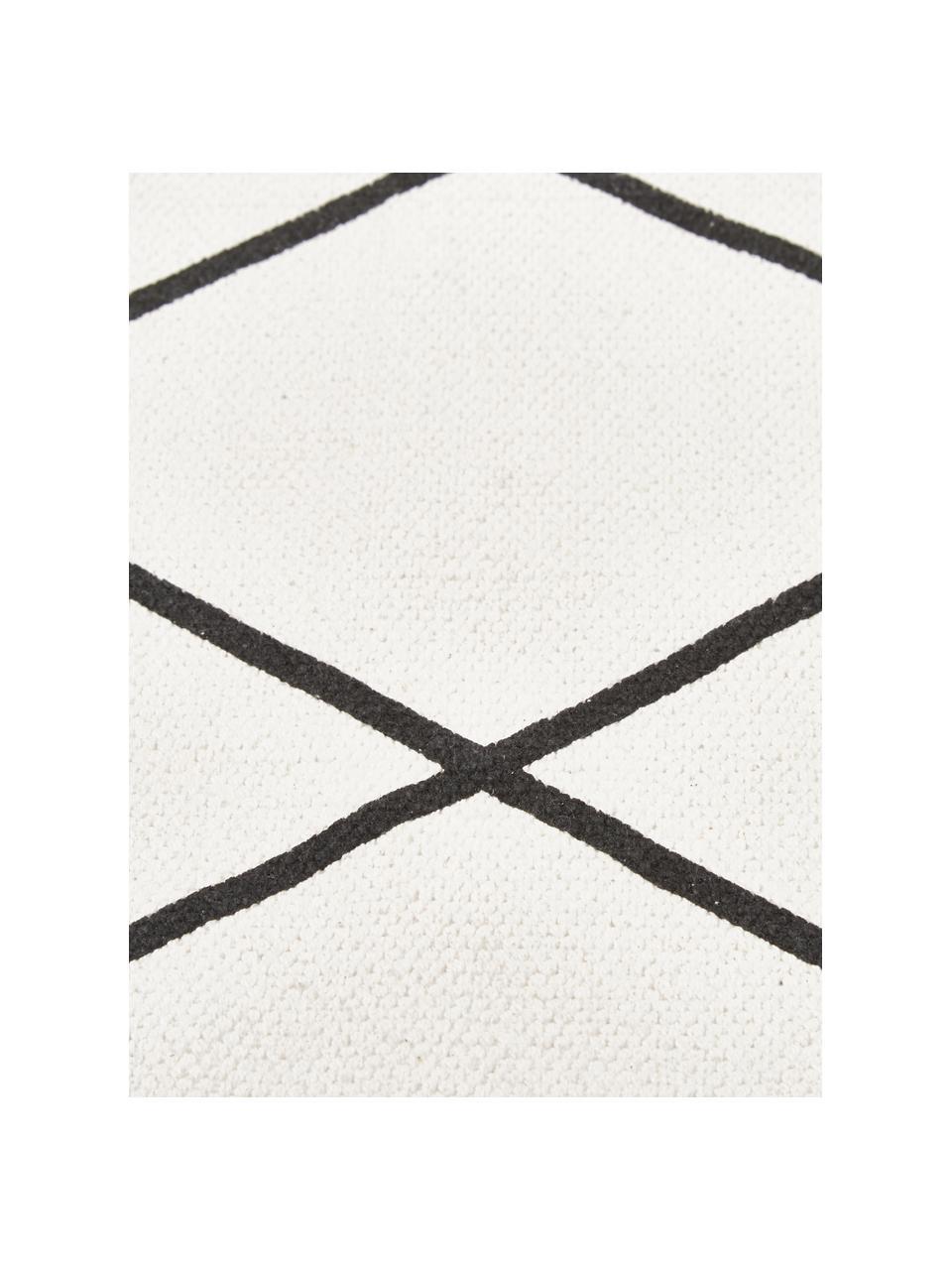 Vlak geweven katoenen vloerkleed Farah met ruitjesmotief, 100% katoen, Crèmewit, zwart, 200 x 300 cm