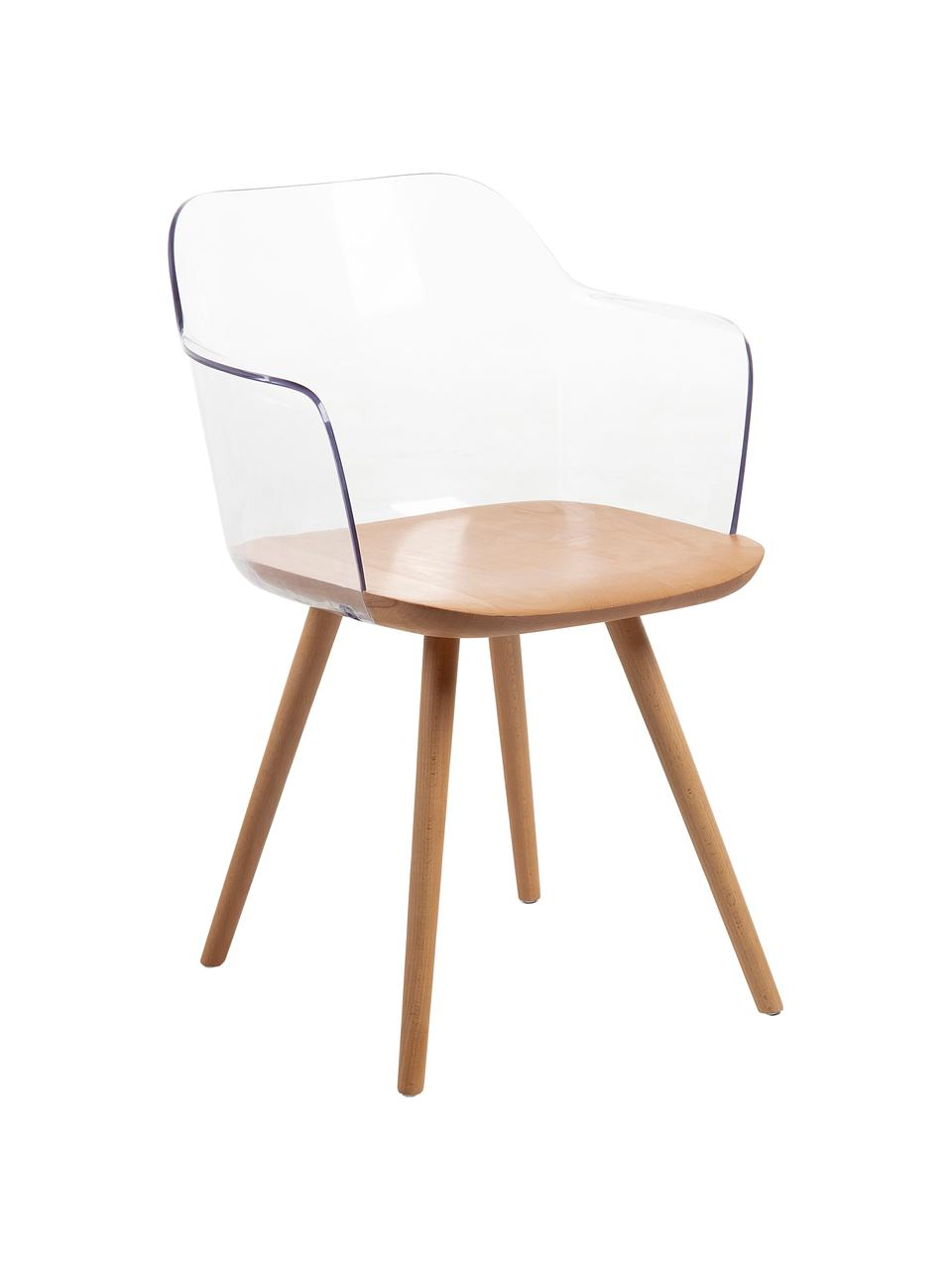 Transparente Armlehnstühle Bjorg, 2 Stück, Rückenlehne: Polycarbonat, Transparent, Buche, B 56 x T 56 cm