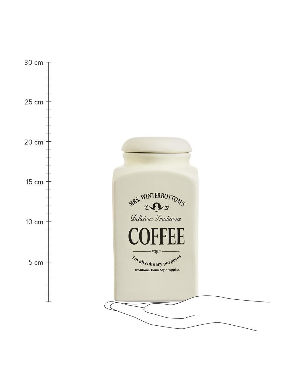 Aufbewahrungsdose Mrs Winterbottoms Coffee, B 11 x H 21 cm, Steingut, Creme, Schwarz, 11 x 21 cm