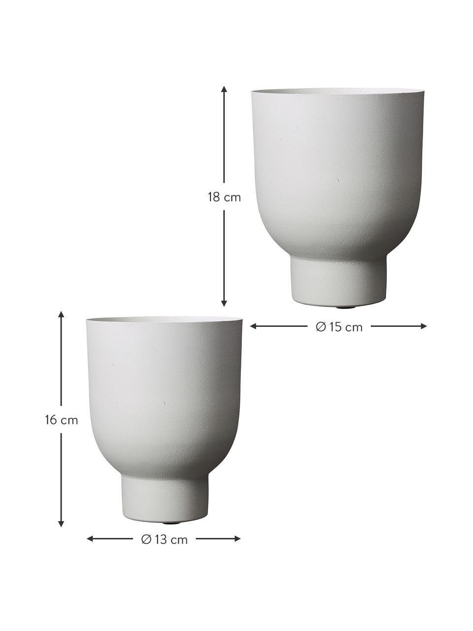 Kleines Übertopf-Set Anga, 2-tlg., Metall, beschichtet, Weiß, Set mit verschiedenen Größen