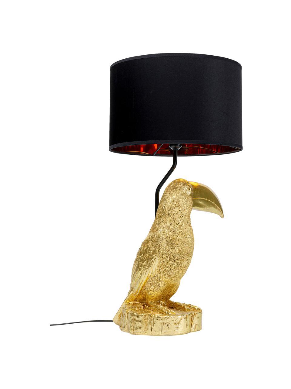Velká stolní lampa z pozlaceného vápence Toucan, Zlatá, černá