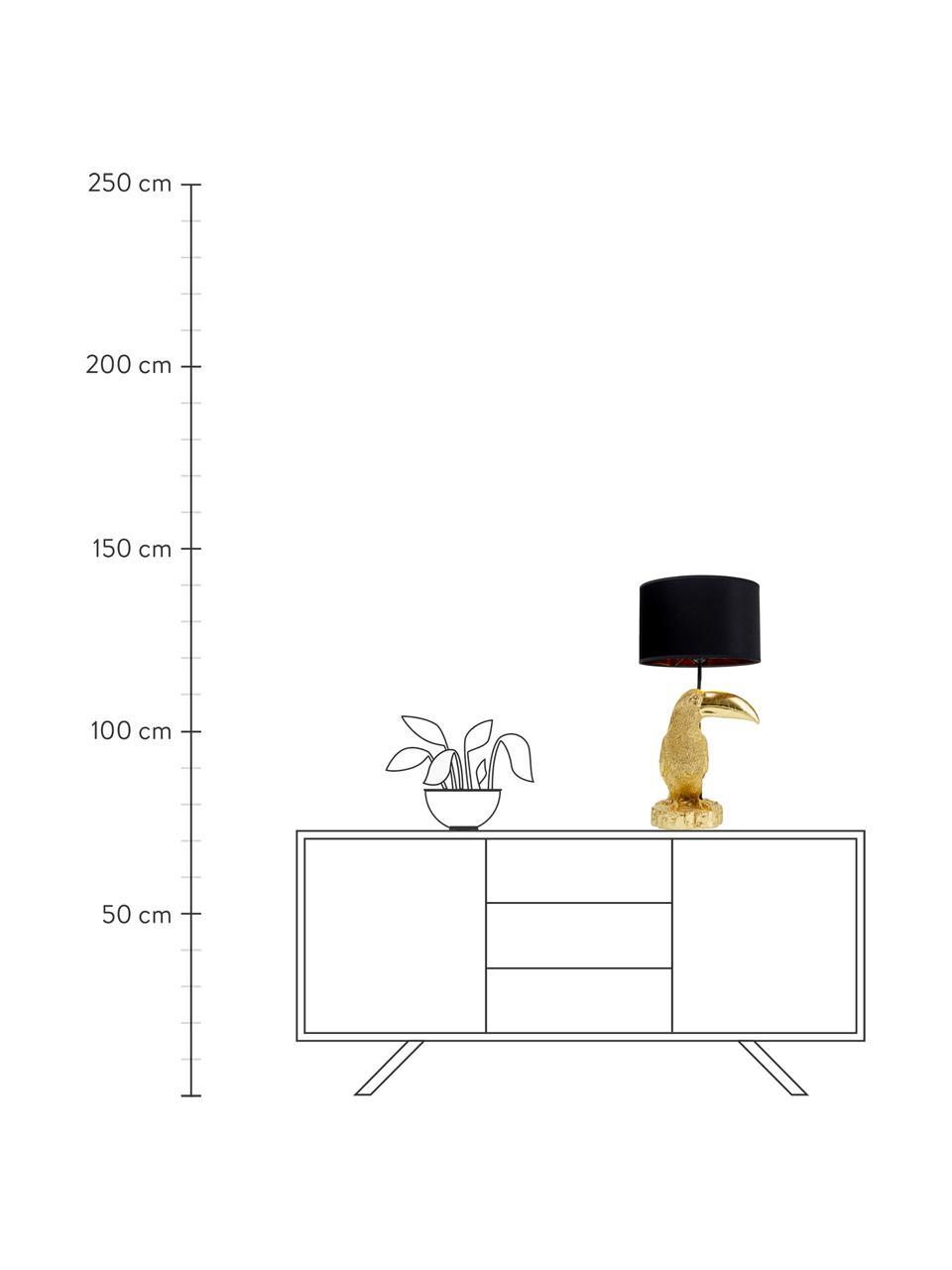 Lampa stołowa Toucan, Odcienie złotego, czarny, Ø 38 x W 70 cm