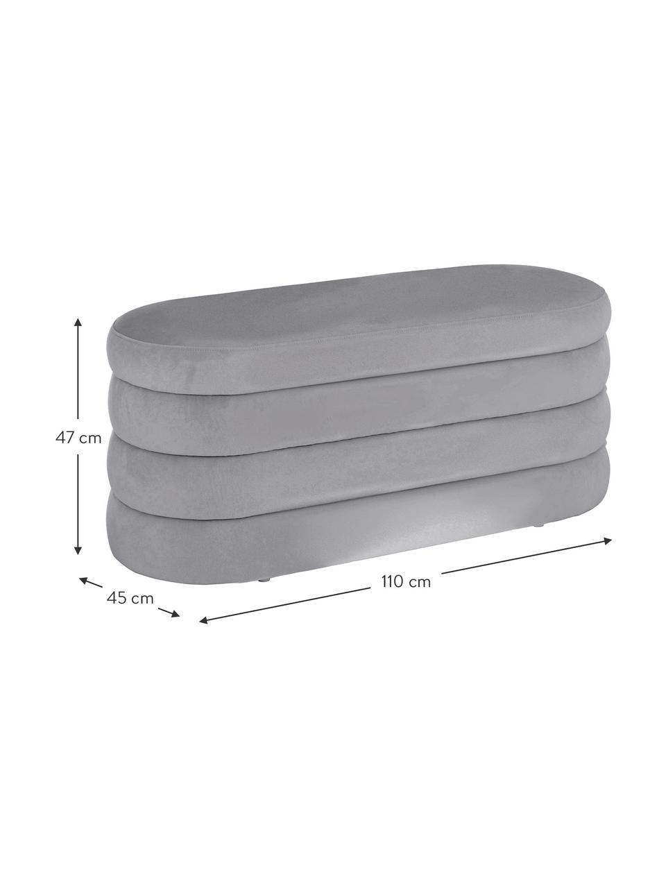 Panca imbottita in velluto grigio Alto, Rivestimento: velluto (100% poliestere), Struttura: legno di pino massiccio, , Velluto grigio, Larg. 110 x Alt. 47 cm
