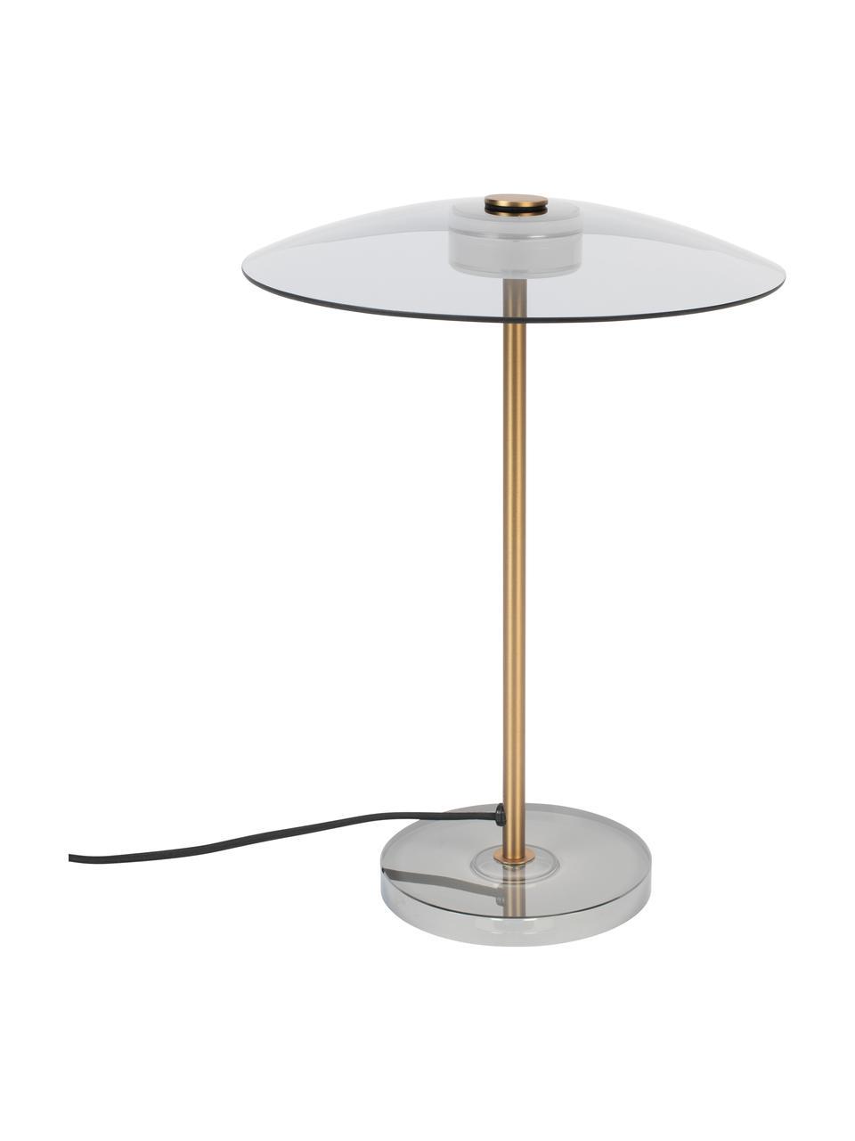 Lampada da tavolo dimmerabile a LED Float, Paralume: vetro, Base della lampada: vetro, Asta: metallo rivestito, Dorato trasparente, Ø 30 x Alt. 42 cm