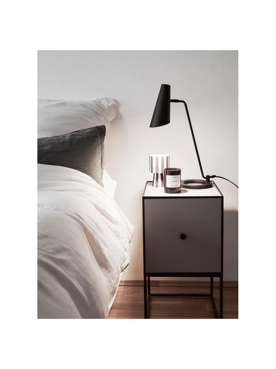 Duża lampa biurkowa z metalu Cal, Czarny Klosz wewnątrz: biały, S 40 x W 50 cm