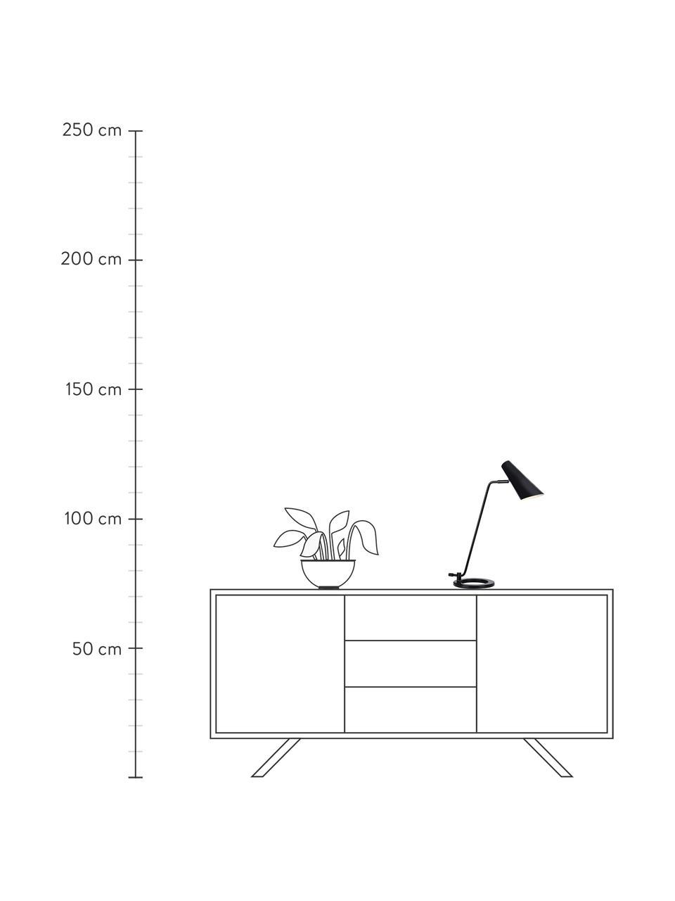 Große Schreibtischlampe Cal aus Metall, Lampenschirm: Metall, lackiert, Lampenfuß: Metall, lackiert, Schwarz Lampenschirm innen: Weiß, 40 x 50 cm