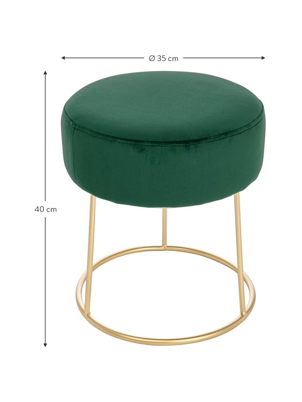 Okrągły stołek z aksamitu Clarissa, Tapicerka: 100% poliester, Korpus: płyta pilśniowa, Nogi: stal, lakierowana, Tapicerka: zielony Nogi: odcienie złotego, Ø 35 x W 40 cm