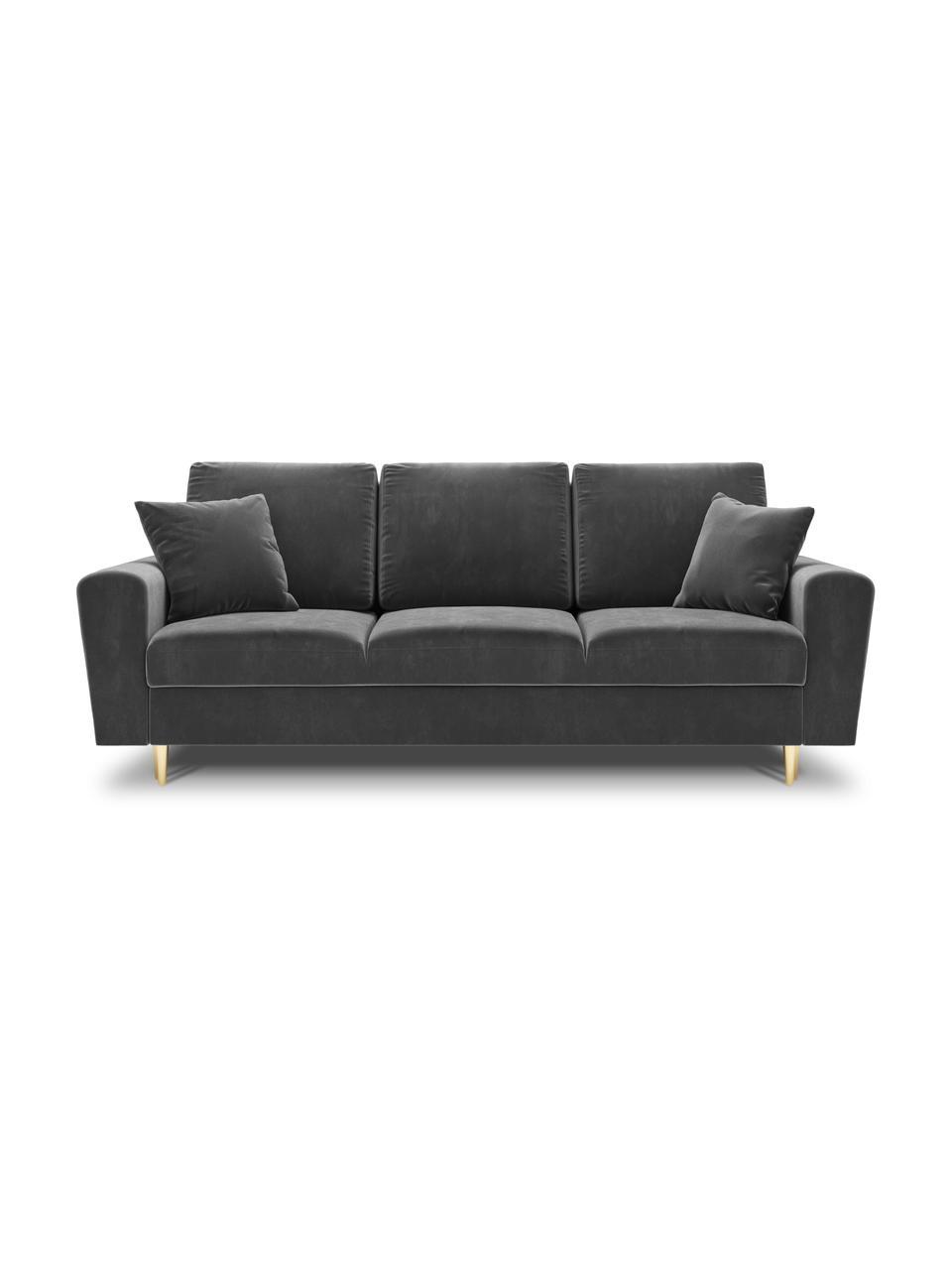 Sofa rozkładana z aksamitu z miejscem do przechowywania Moghan (3-osobowa), Tapicerka: 100% aksamit poliestrowy , Nogi: metal powlekany, Jasny szary, S 235 x G 100 cm