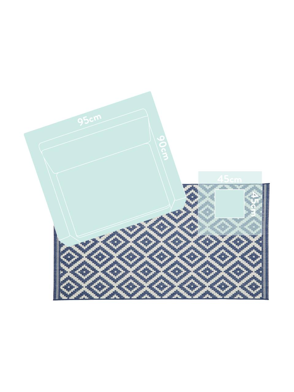 Gemusterter In- & Outdoor-Teppich Miami in Blau/Weiß, 86% Polypropylen, 14% Polyester, Cremeweiß, Blau, B 200 x L 290 cm (Größe L)