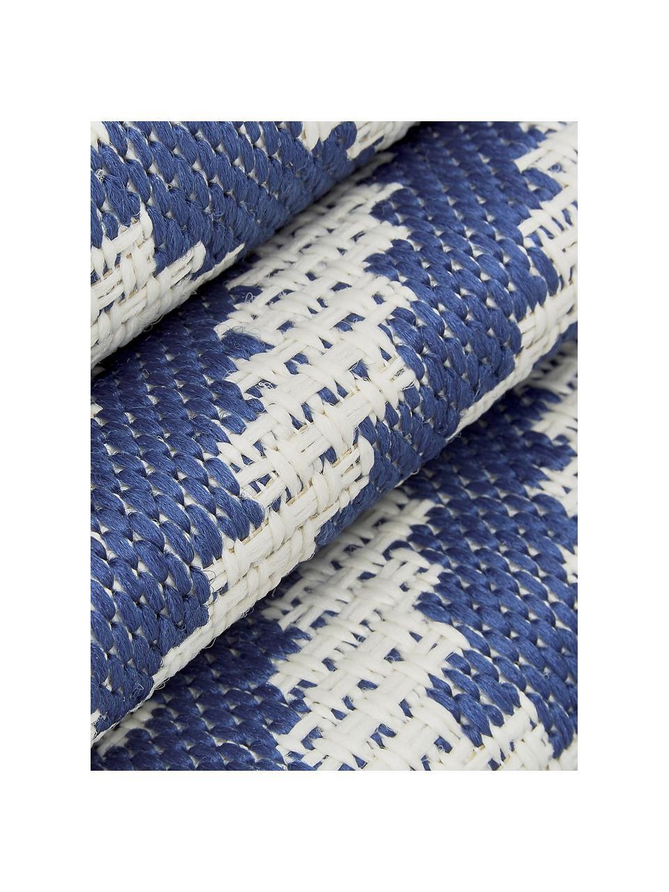 Dywan wewnętrzny/zewnętrzny Miami, 86% polipropylen, 14% poliester, Kremowobiały, niebieski, S 200 x D 290 cm (Rozmiar L)