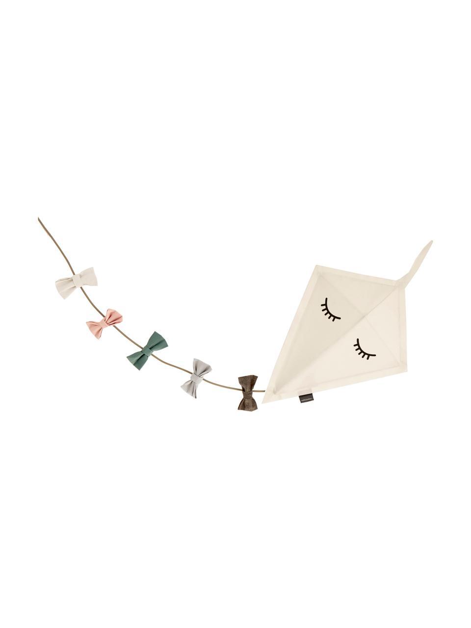 Wandleuchte Kite mit Stecker, Bezug: Filz, Dekor: Baumwolle, Gestell: Metall, pulverbeschichtet, Weiß, Mehrfarbig, 40 x 52 cm