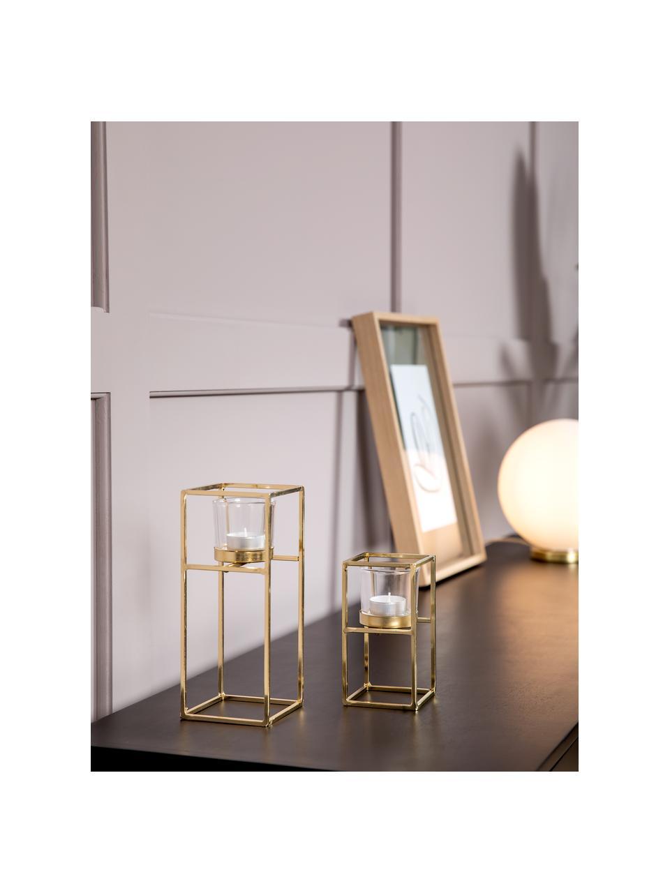 Set 2 portalumini dorati Tonia, Portacandela: vetro, Struttura: metallo rivestito, Trasparente, ottonato, Set in varie misure