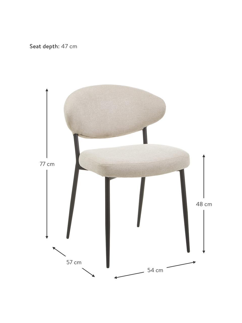 Krzesło tapicerowane Adele, 2 szt., Stelaż: metal malowany proszkowo, Beżowy, S 54 x G 57 cm