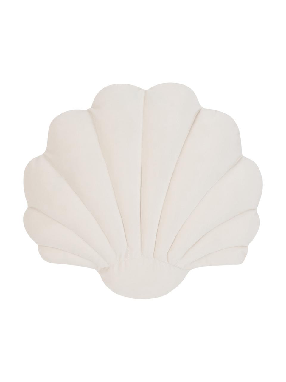 Cuscino in velluto a forma di conchiglia Shell, Retro: 100% cotone, Bianco crema, Larg. 32 x Lung. 27 cm